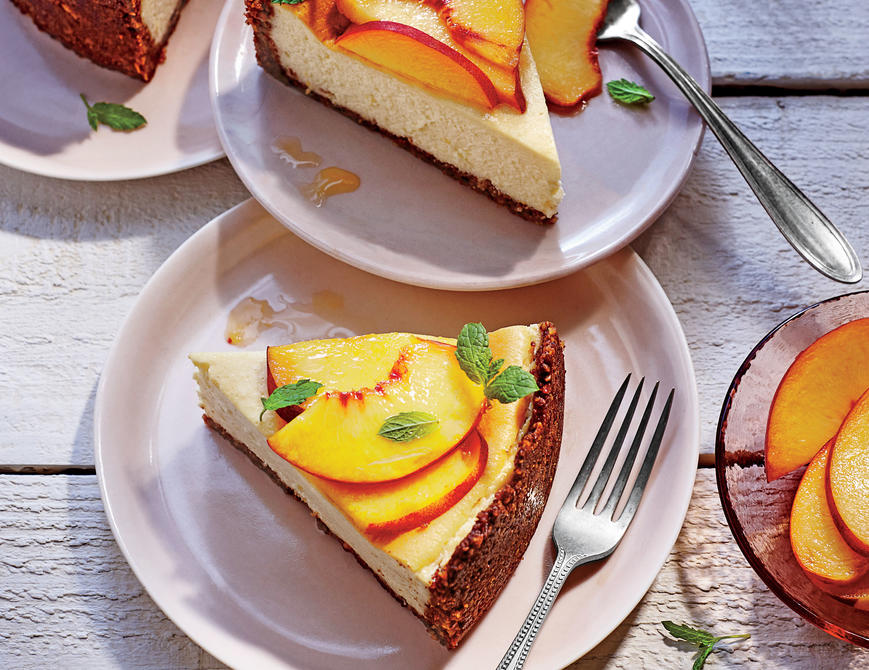 Peach-Ricotta Cheesecake with Pecan Crust