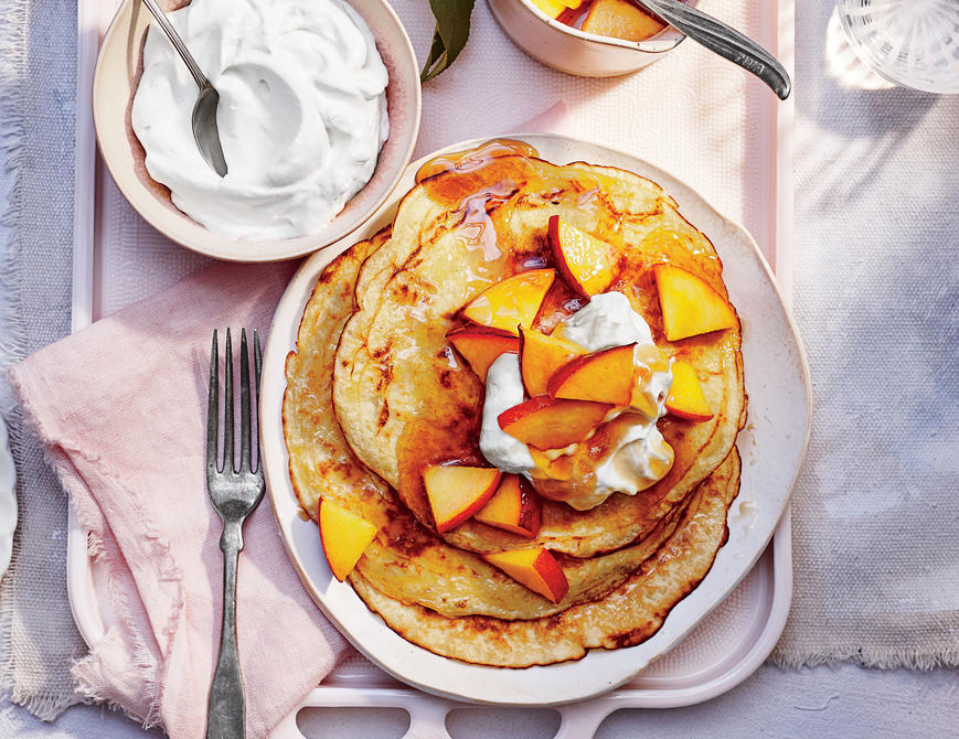 <p>Peaches-and-Cream Pancakes</p>