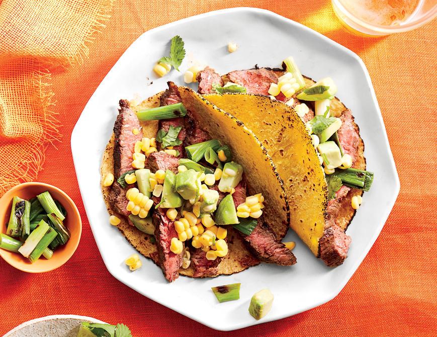 Skirt Steak Soft Tacos with Avocado-Corn Salsa