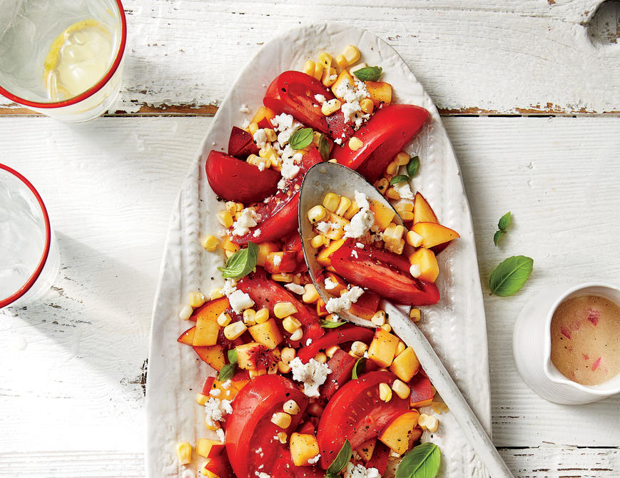 Tomato, Peach, and Corn Salad