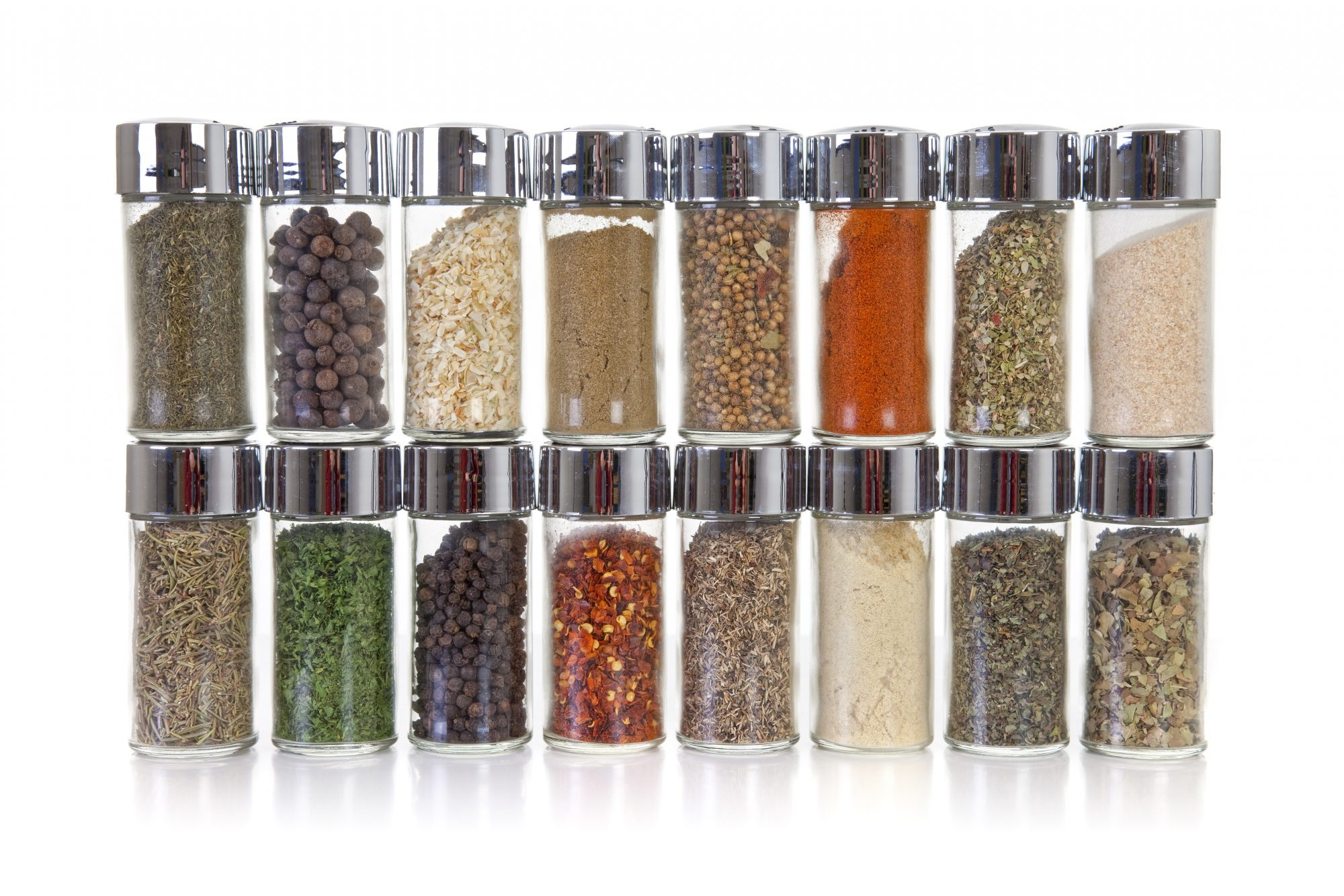 Row of jars with spices
