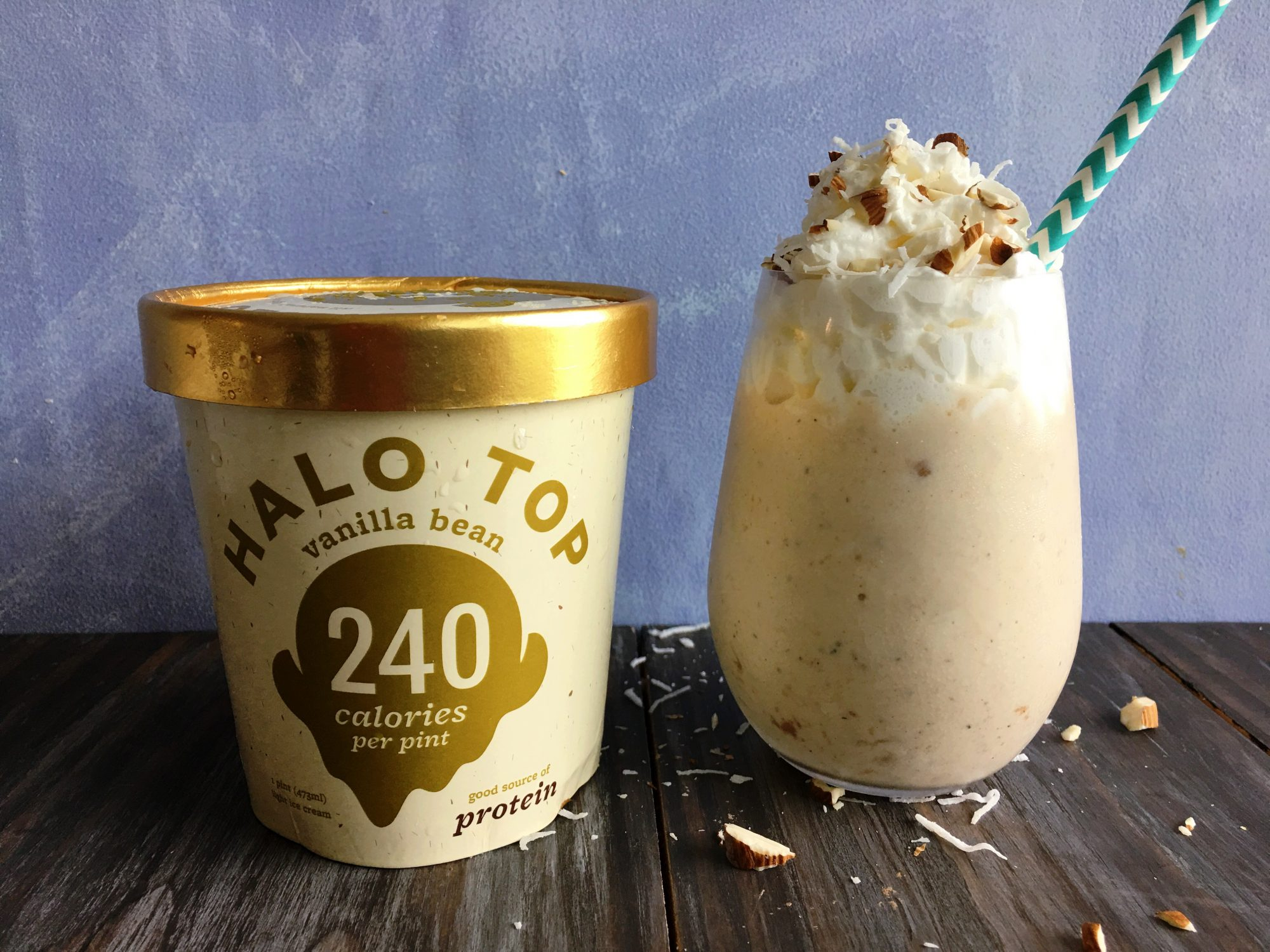 Almond-Coconut Vanilla Halo Top Milkshake