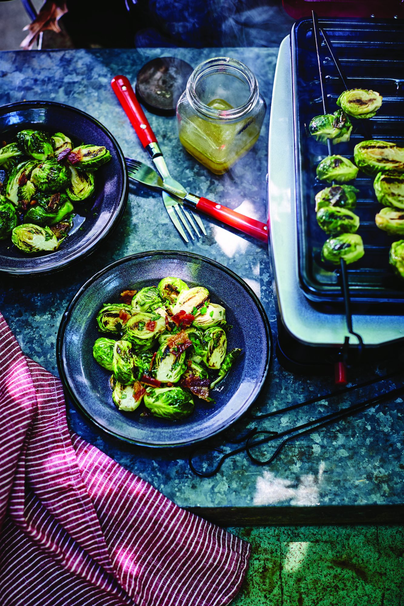 Campfire-Grilled Brussels Sprouts Salad with Bacon and Cider Vinaigrette