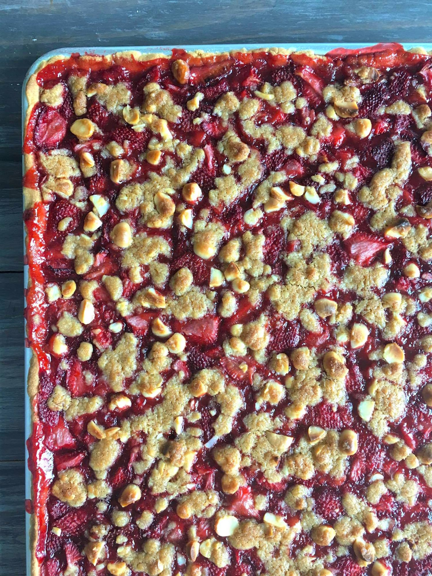 <p>Strawberry-Cardamom Slab Pie</p>
