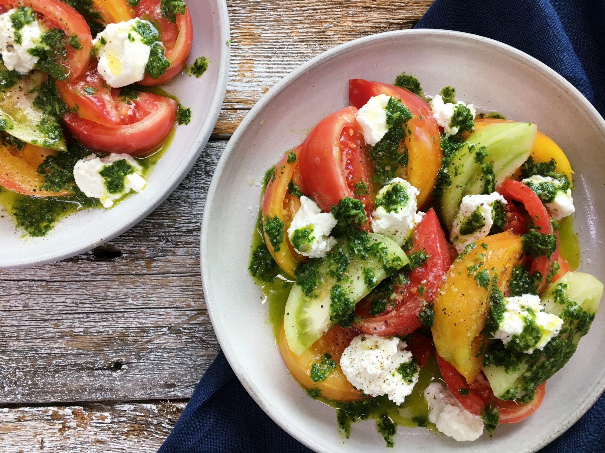 <p>Easy Tomato Salad with Basil Chimichurri and Ricotta</p>