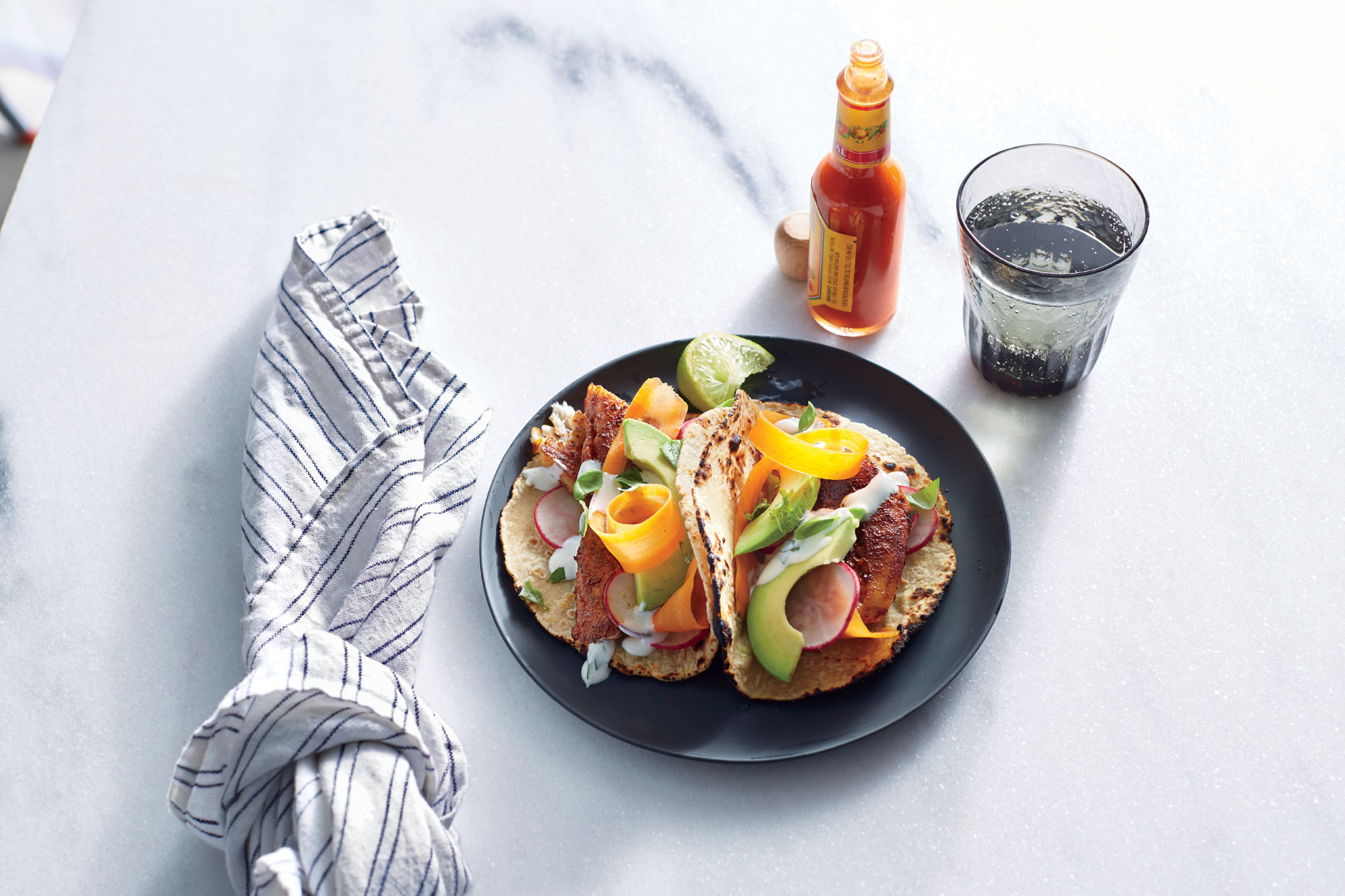 Blackened Tilapia Tacos with Basil-Lime Mayo