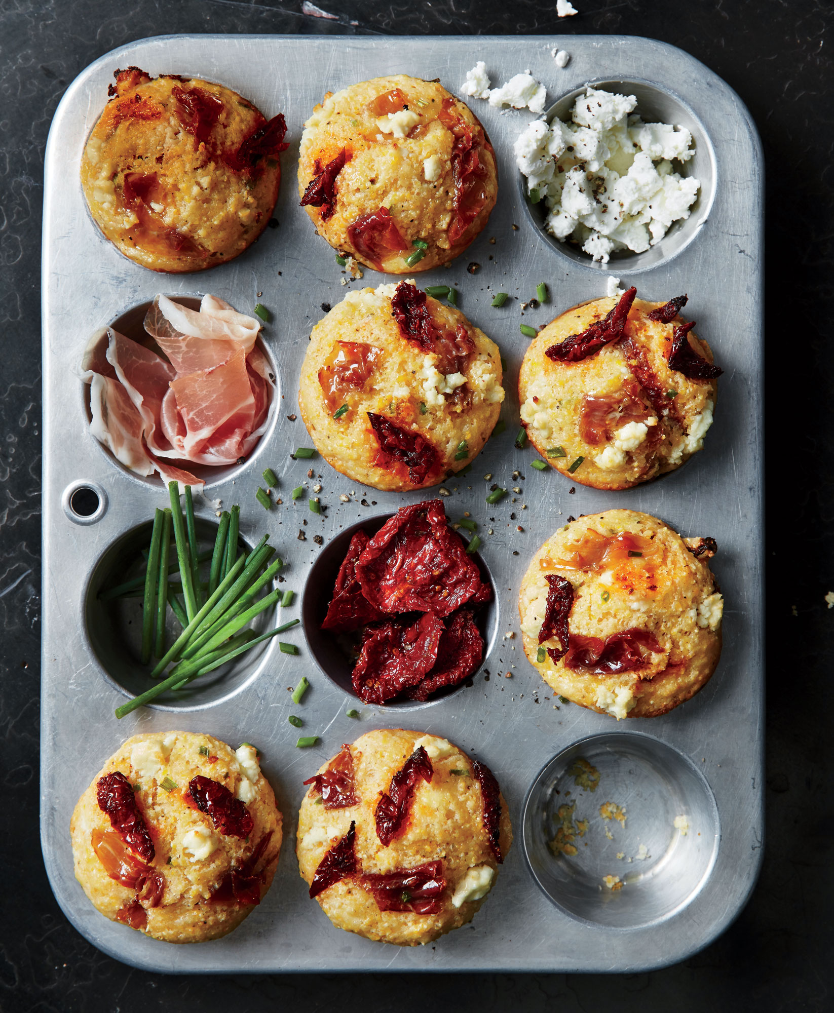 Corn Muffins with Prosciutto, Sun-Dried Tomatoes, and Goat Cheese