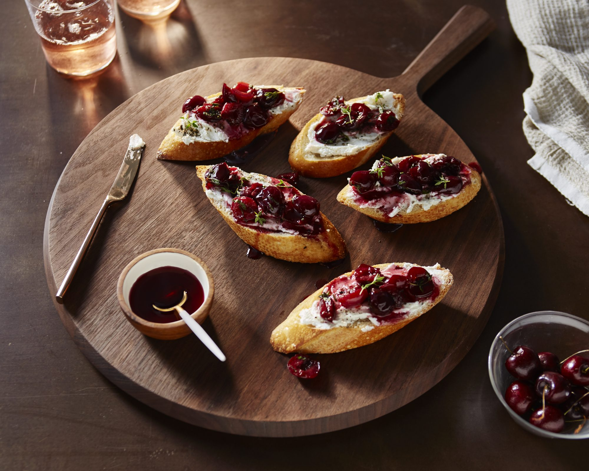 <p>Poached Cherry and Goat Cheese Crostini</p>
