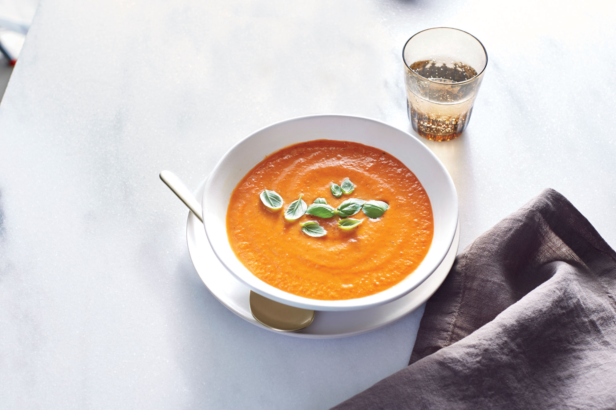 <p>Fire-Roasted Tomato-Basil Soup</p>