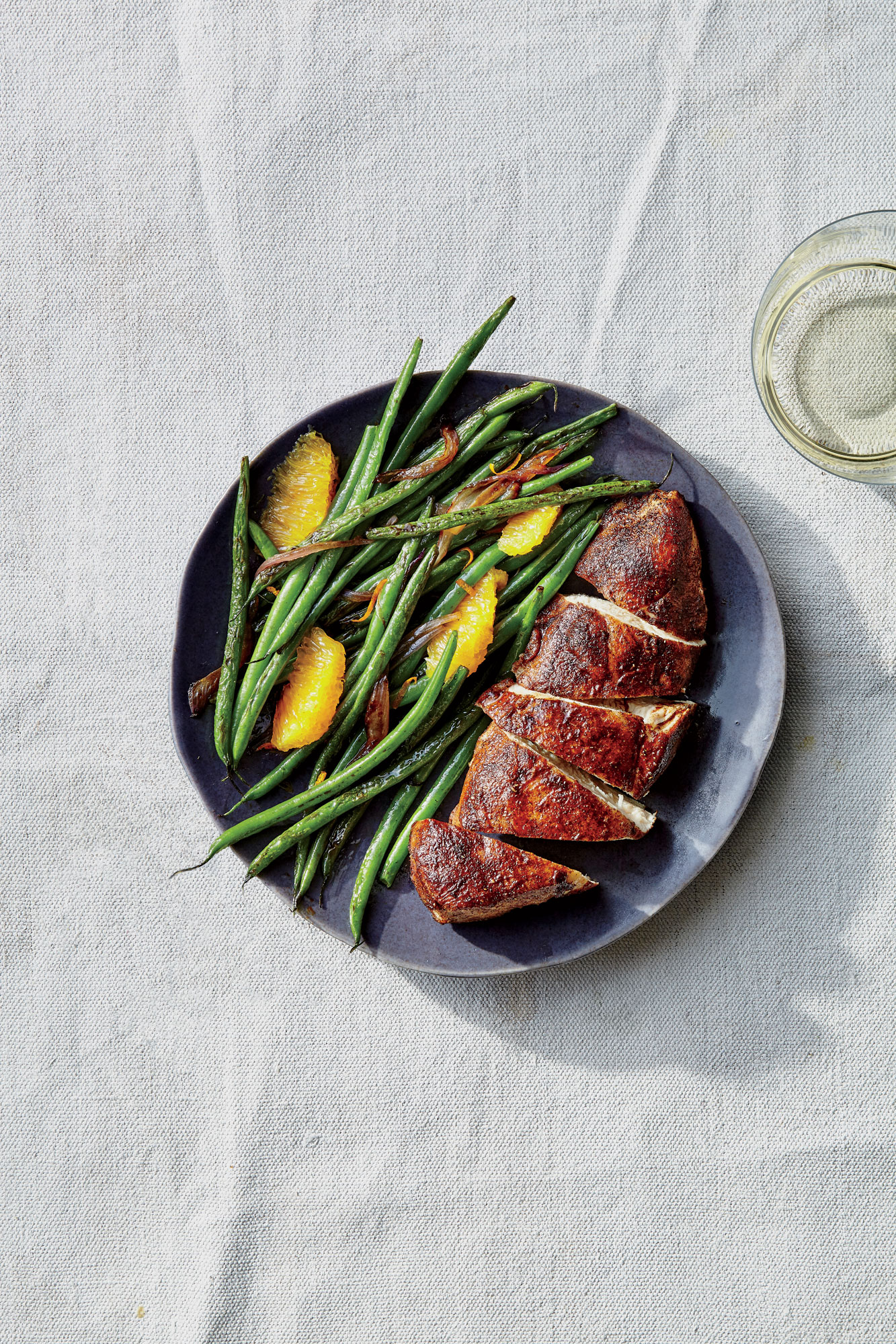 Five-Spice Chicken Breasts with Sesame-Orange Beans