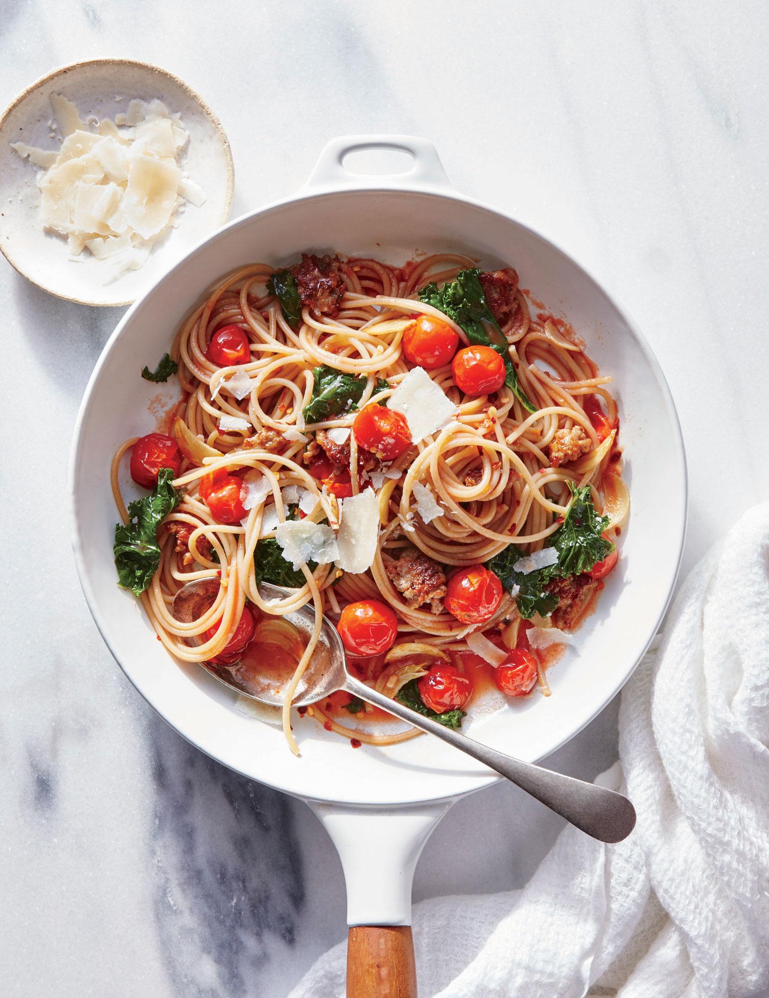 Garlicky Kale, Sausage, and Tomato Pasta