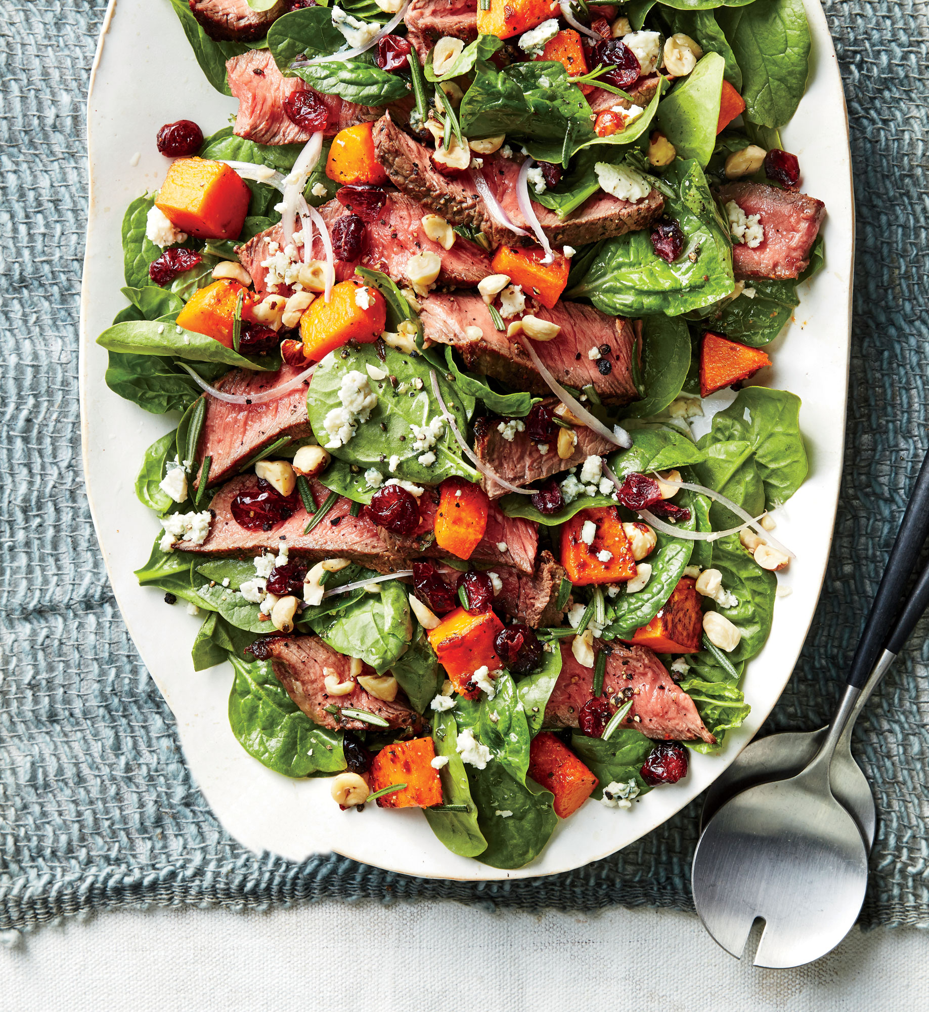 Steak Salad with Butternut Squash and Cranberries