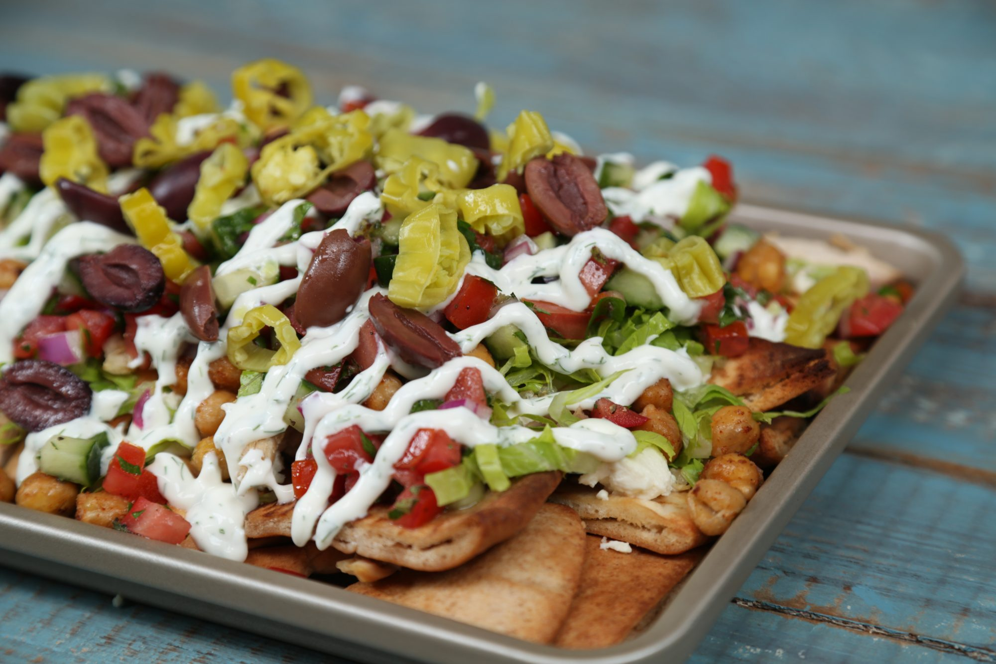 Loaded Greek Salad Nachos image
