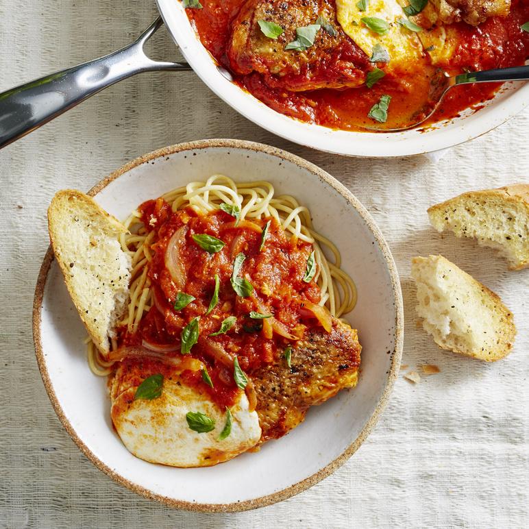 Double-Skillet Crispy Chicken Caprese Dinner image