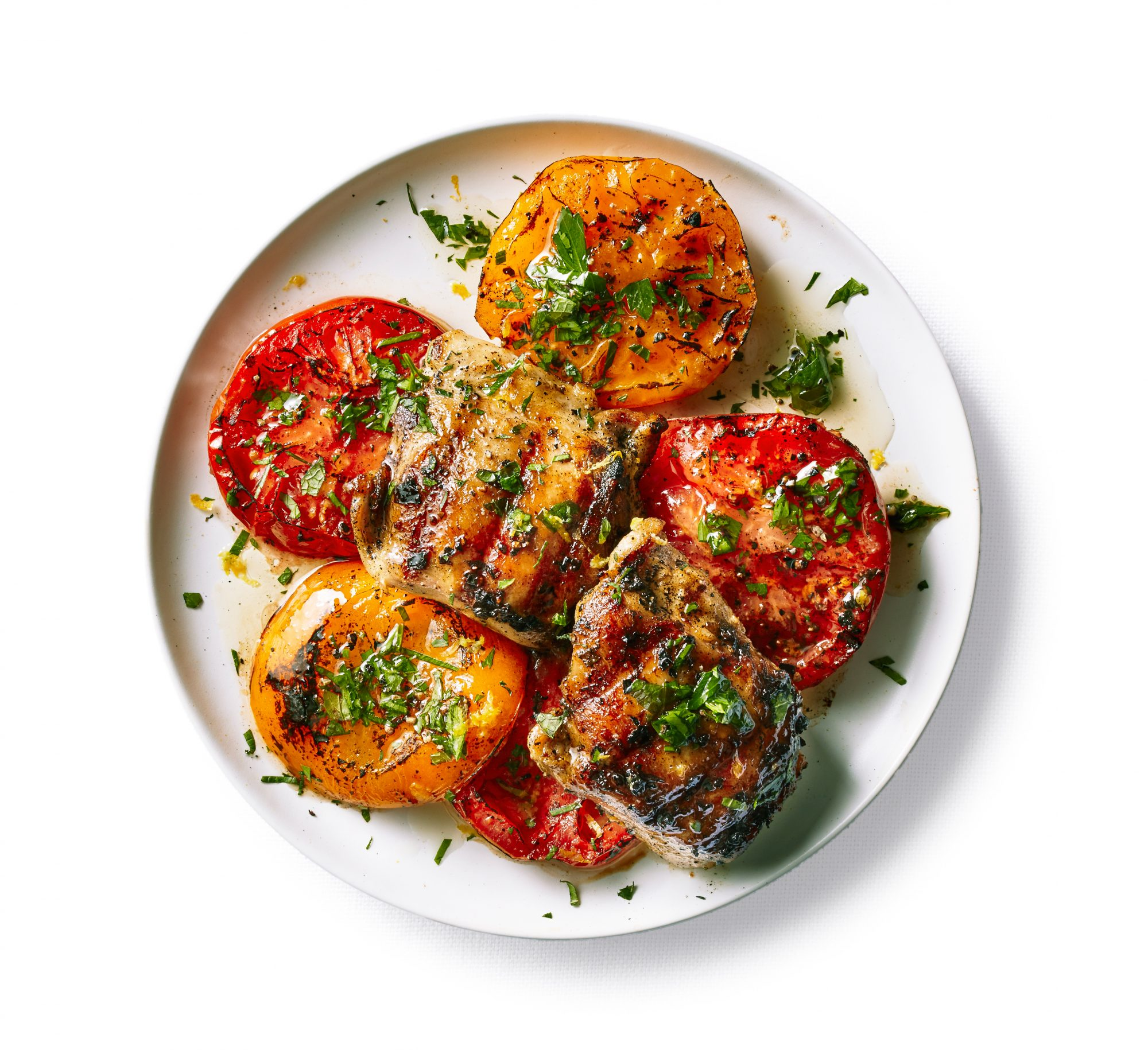 su-Grilled Chicken with Tomatoes and Herb Oil