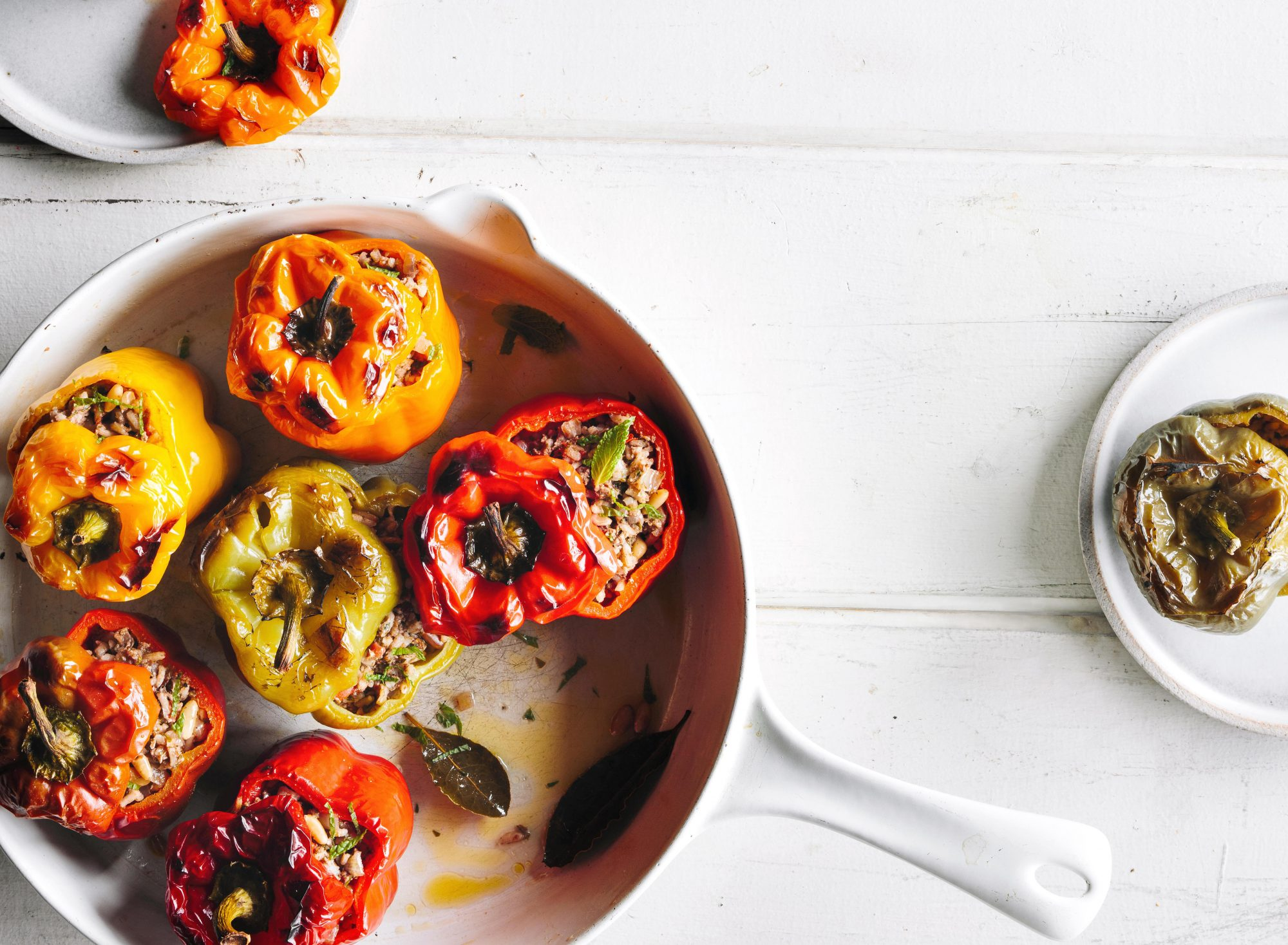 su-Stuffed Peppers with Lamb and Mint