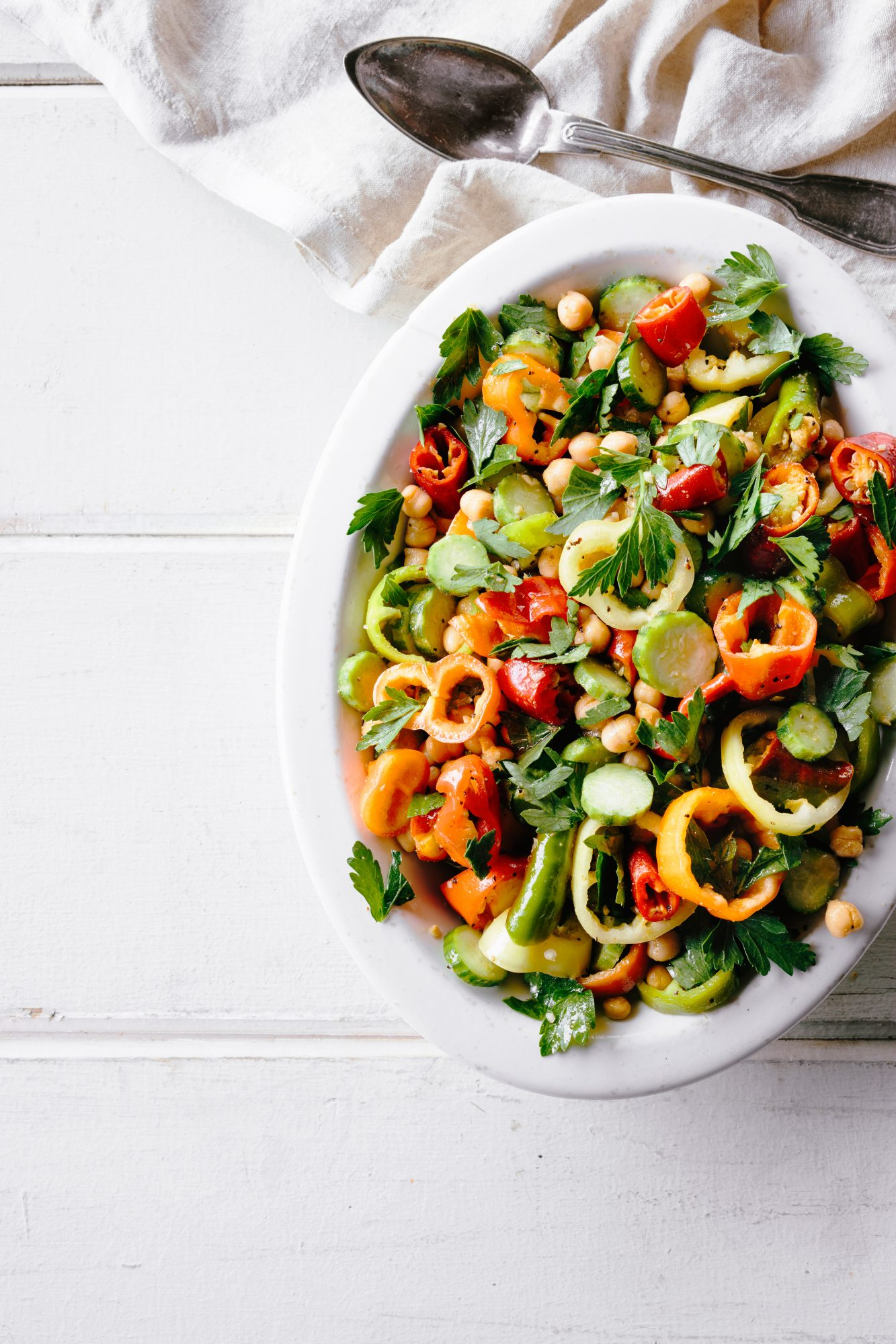 Pepper, Cucumber, and Chickpea Salad