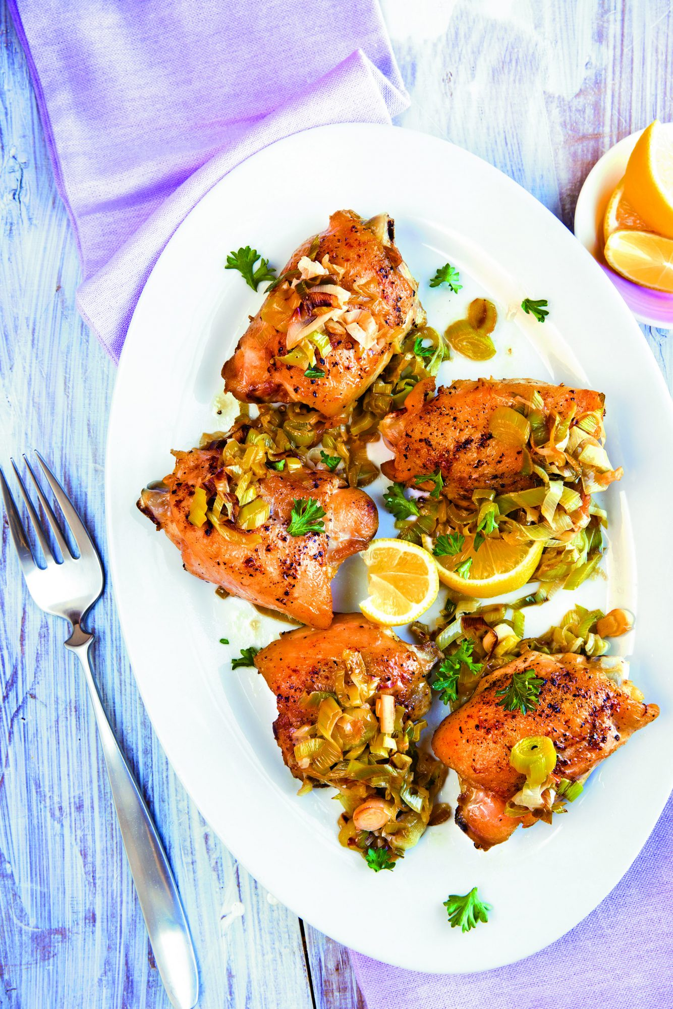 Chicken with Honey-Lemon Leeks