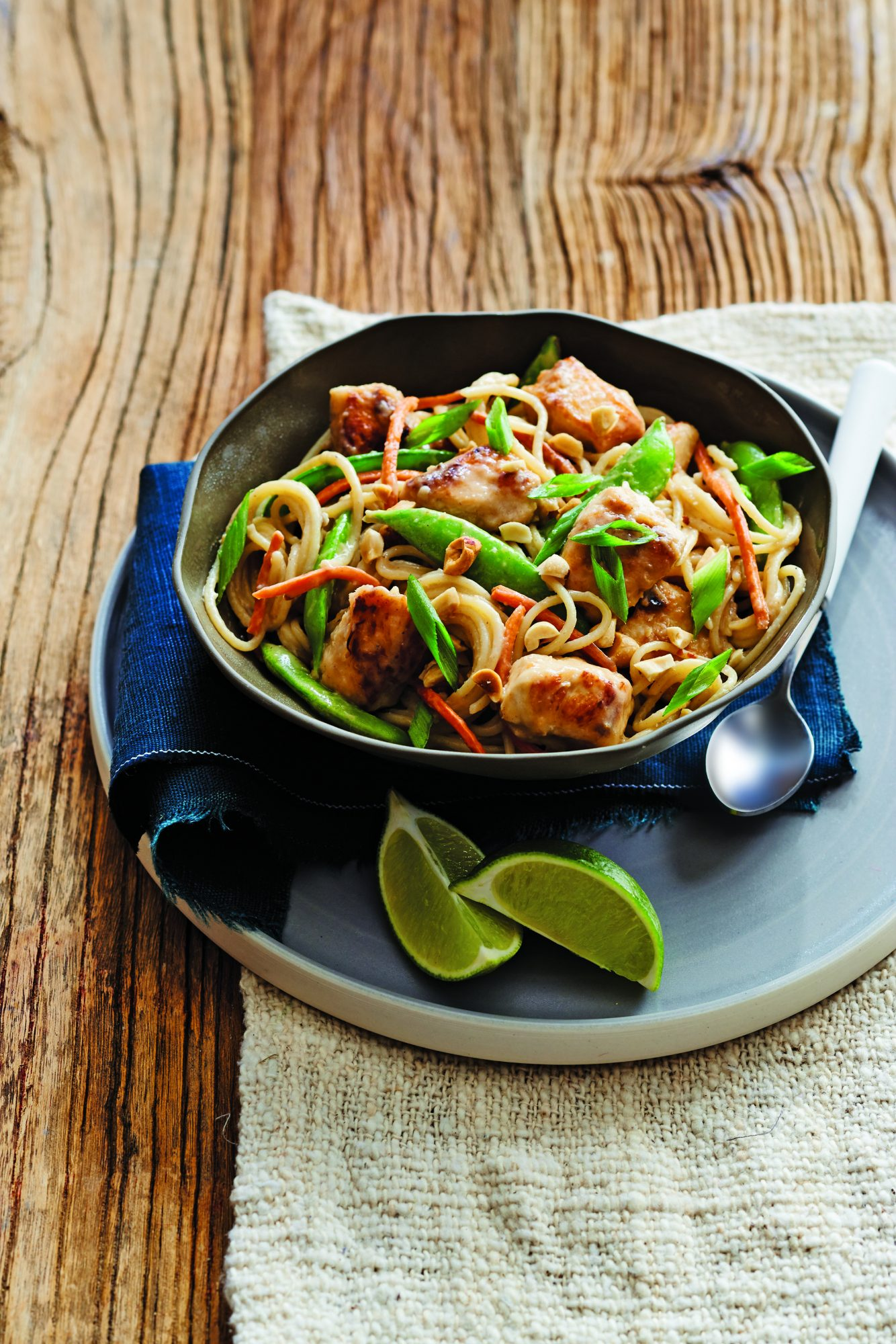 Peanut Chicken and Sugar Snap Peas with Noodles
