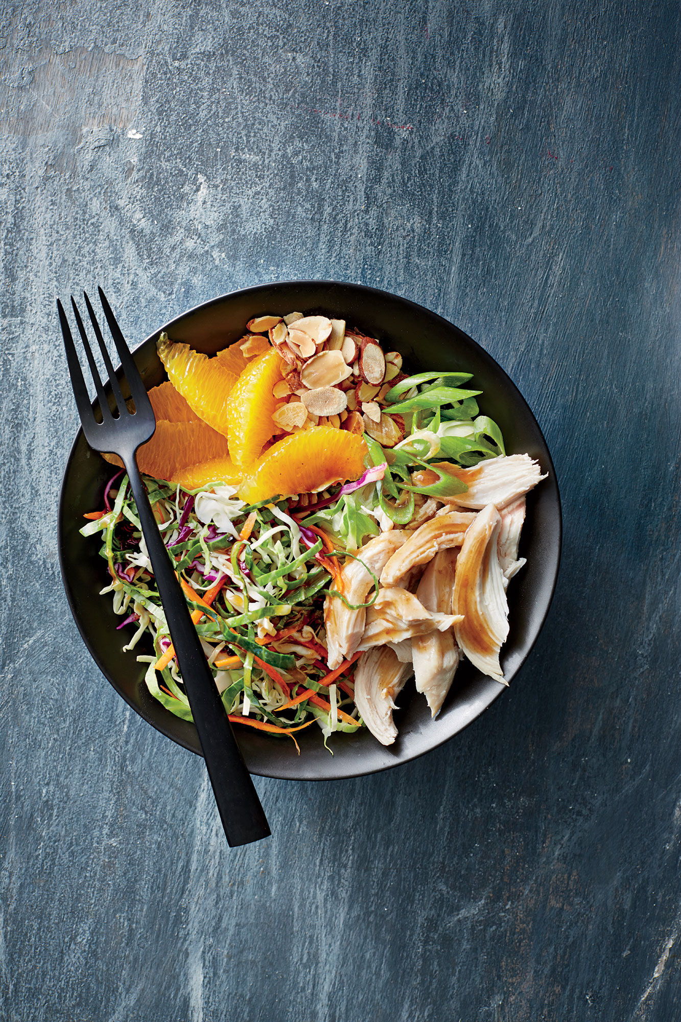 Orange-Almond Chicken-and-Cabbage Bowls