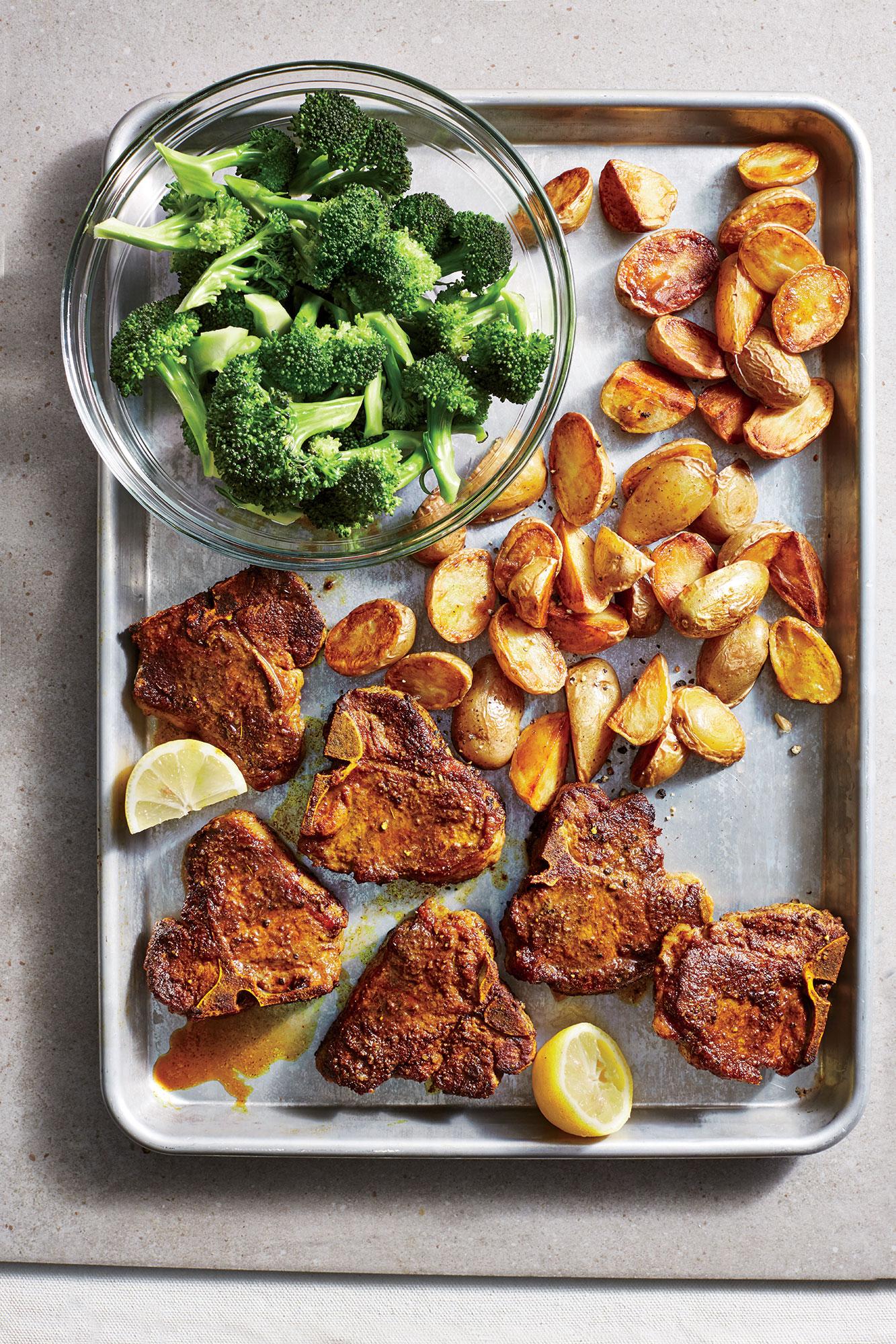 ck-Turmeric Lamb Chops with Crispy Potatoes and Broccoli