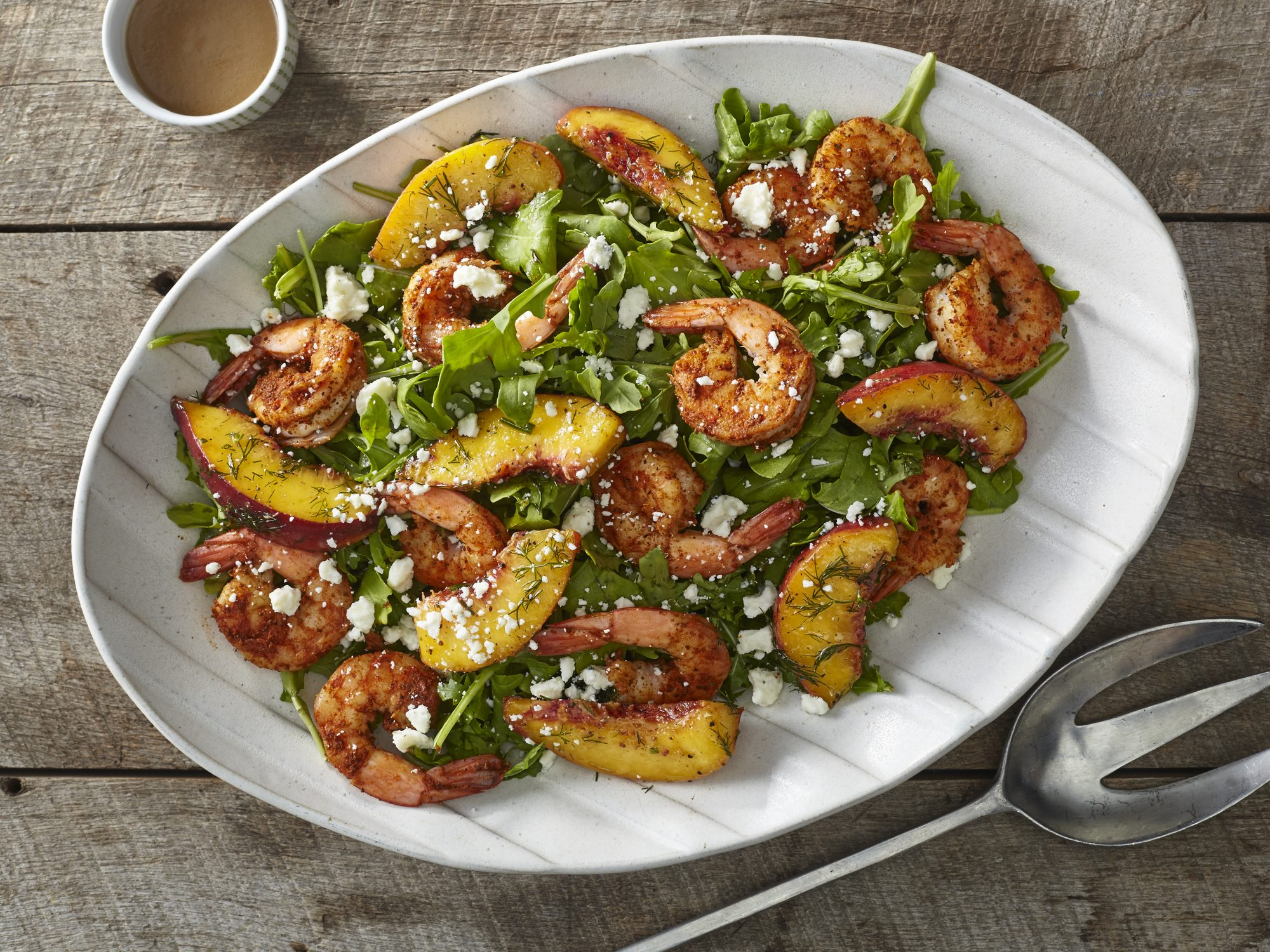 Shrimp and Marinated Peach Salad with Blue Cheese and Caramelized Shallot Vinaigrette