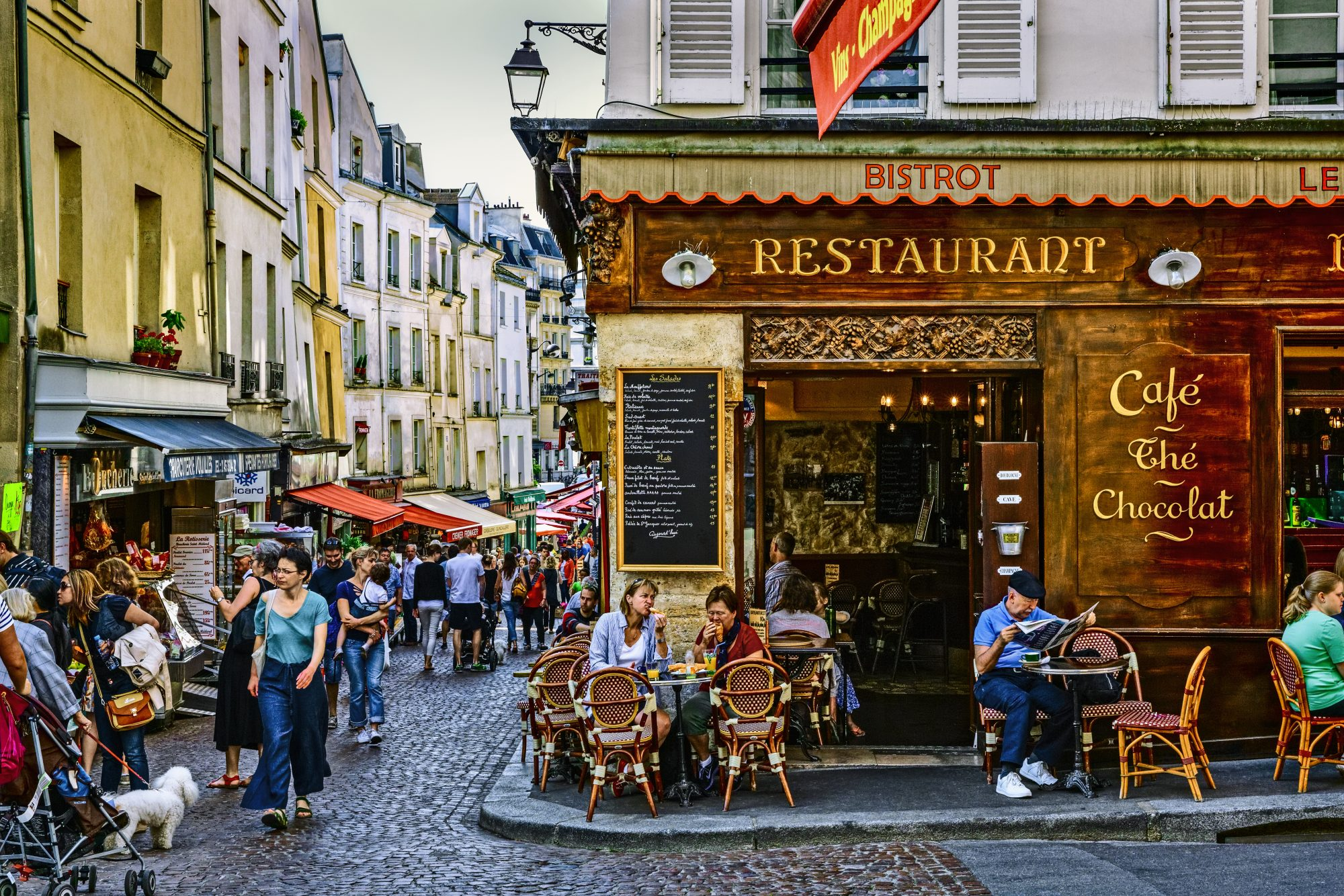 Shops and Bistrots in Mouffetard Street, Paris, France
