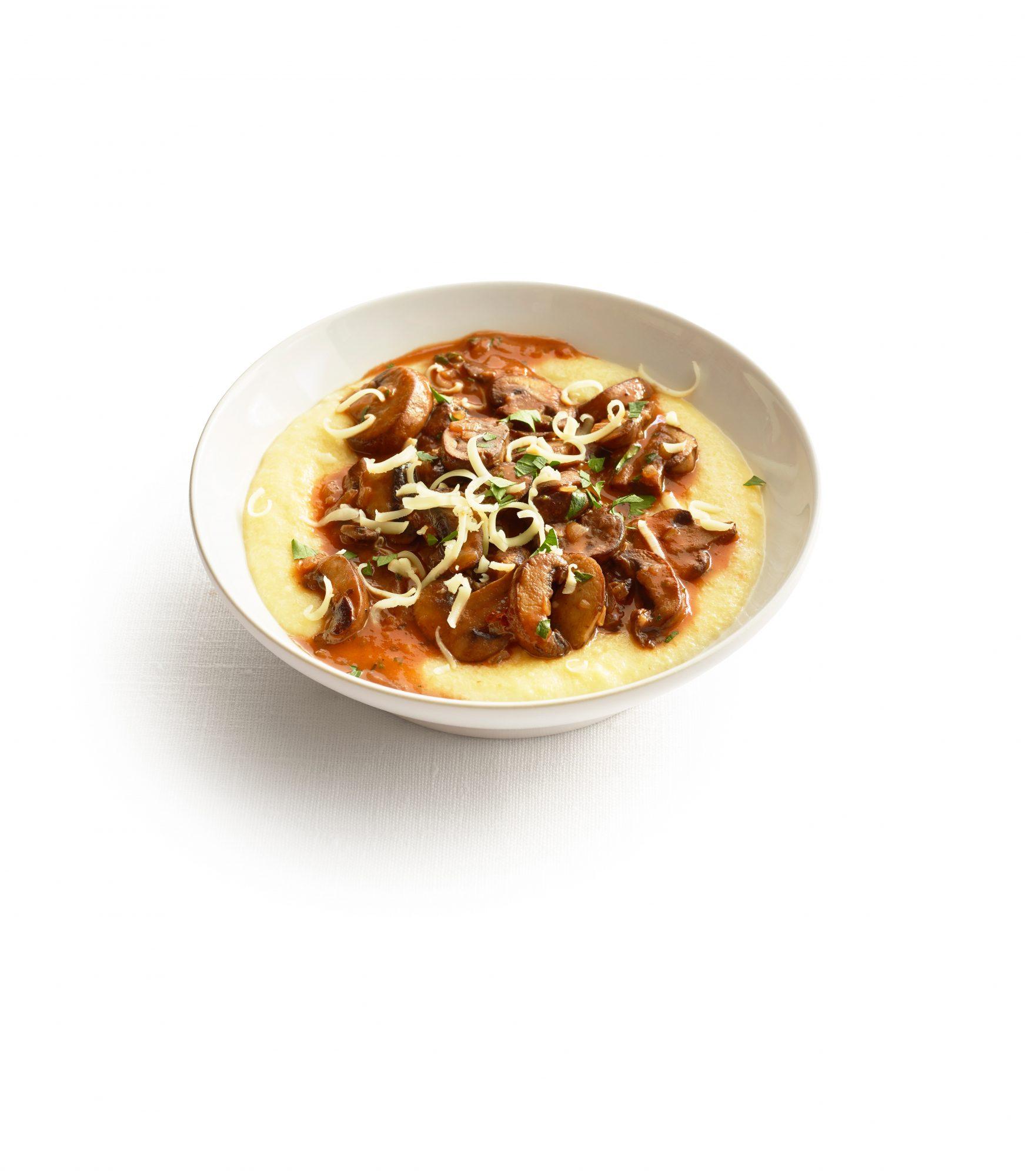 Mushroom Ragout with Cheddar Polenta