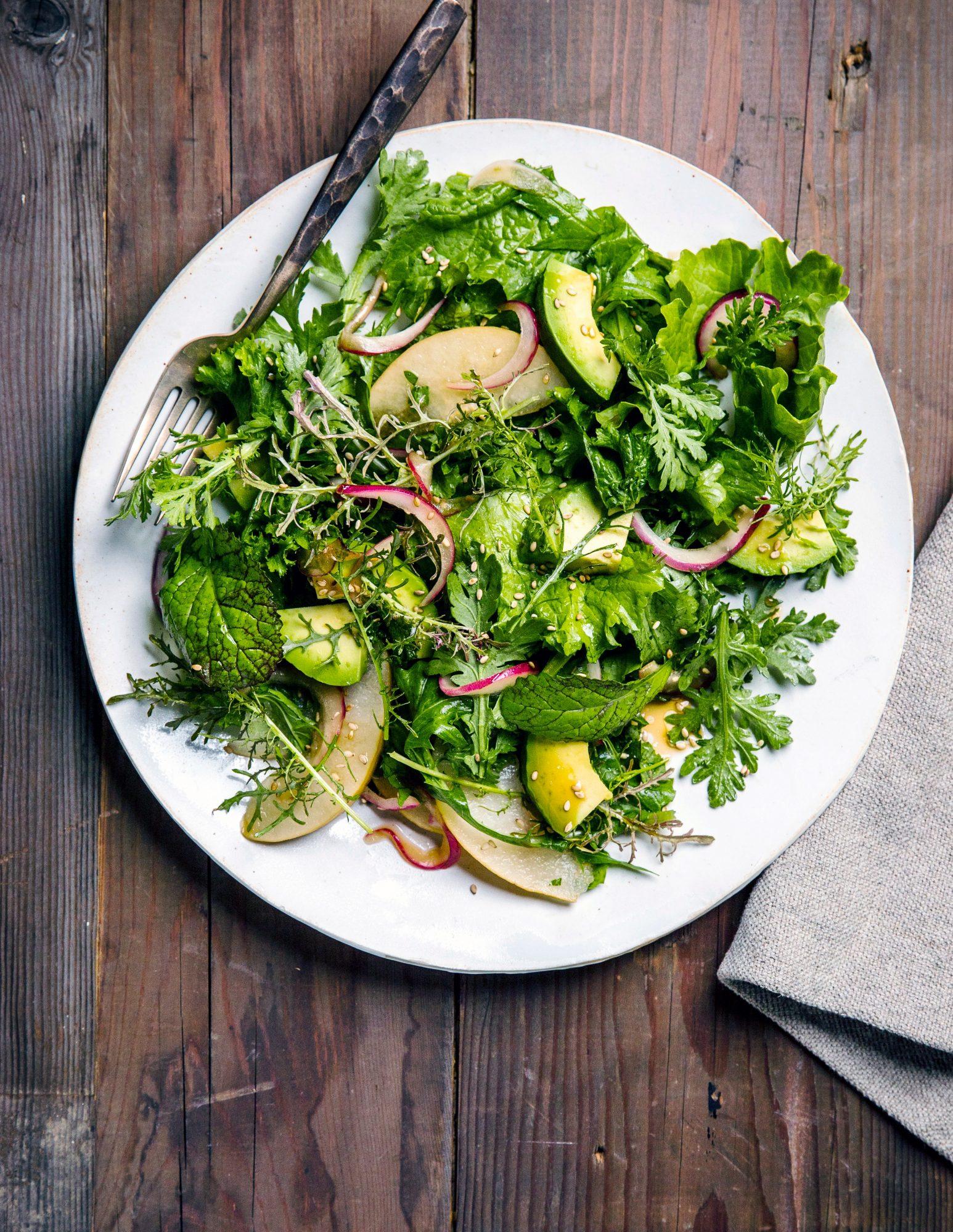 Pear and Asian Greens Salad