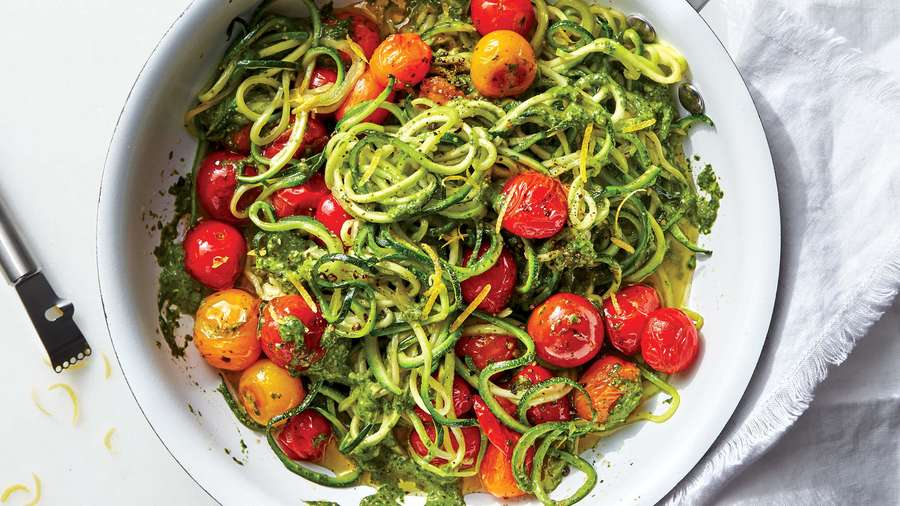 Zoodles with Tomatoes and Spinach-Caper Pesto