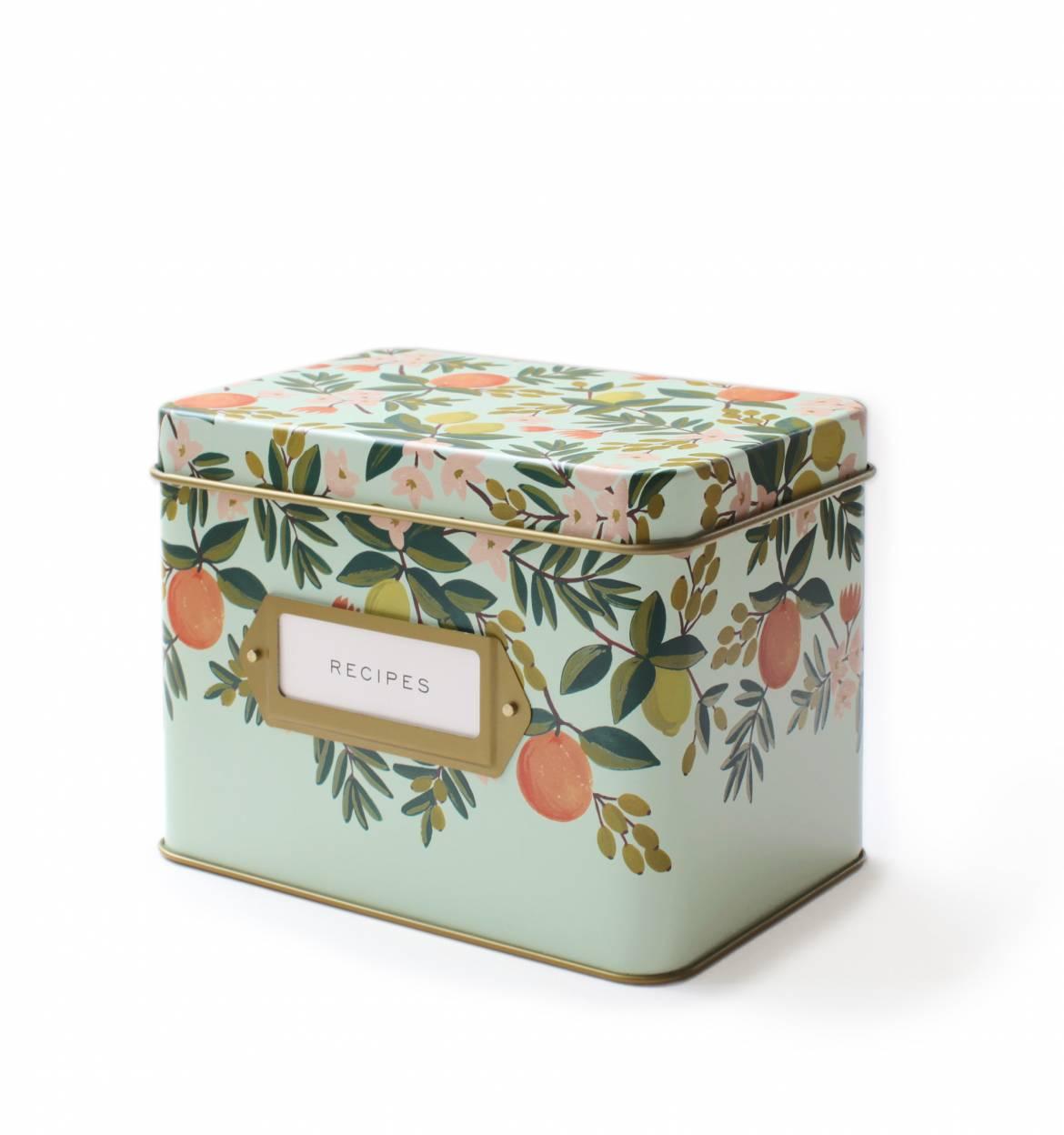 <p>Citrus Floral Recipe Tin</p>