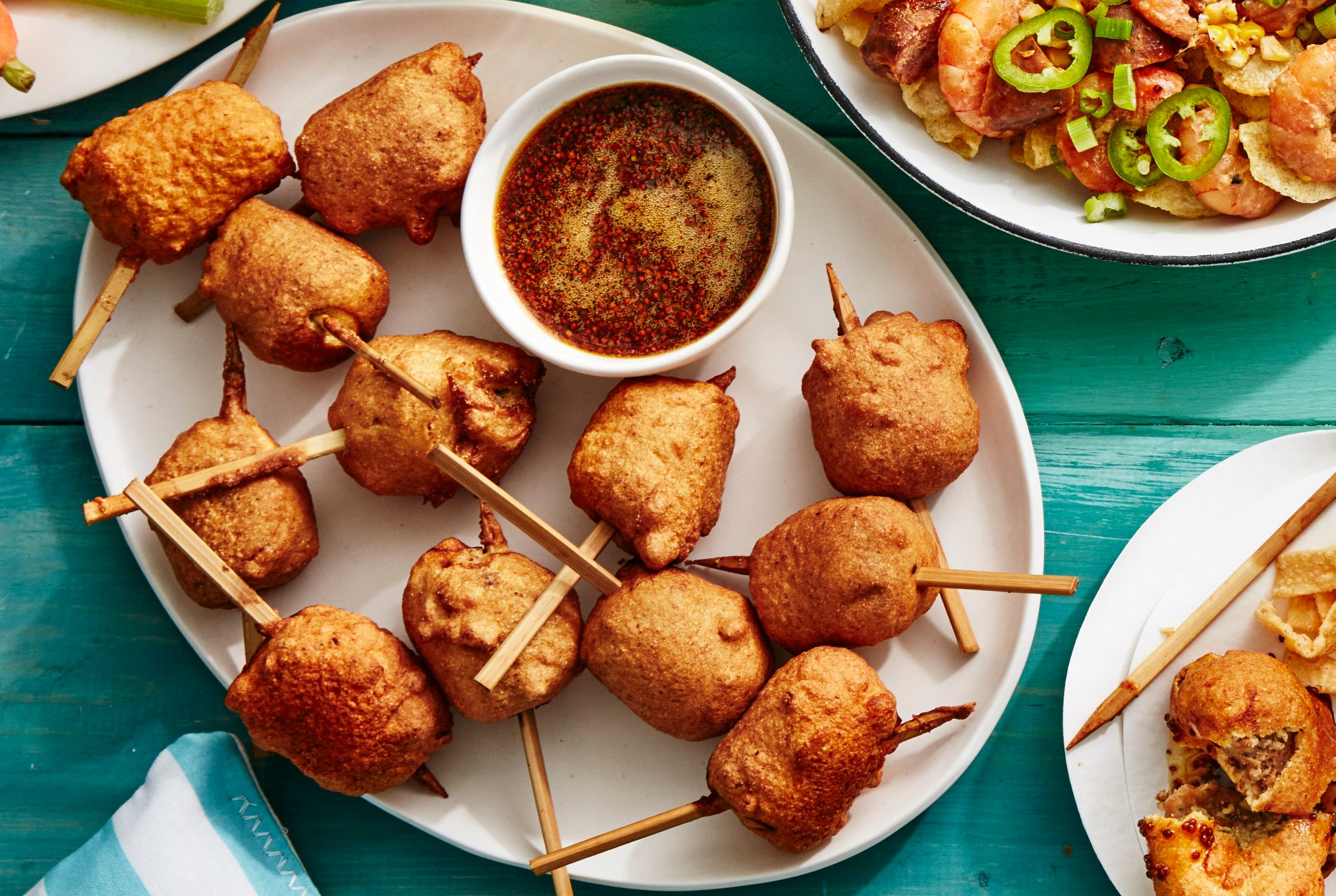 Boudin Fritters with Sorghum-Mustard-Beer Sauce