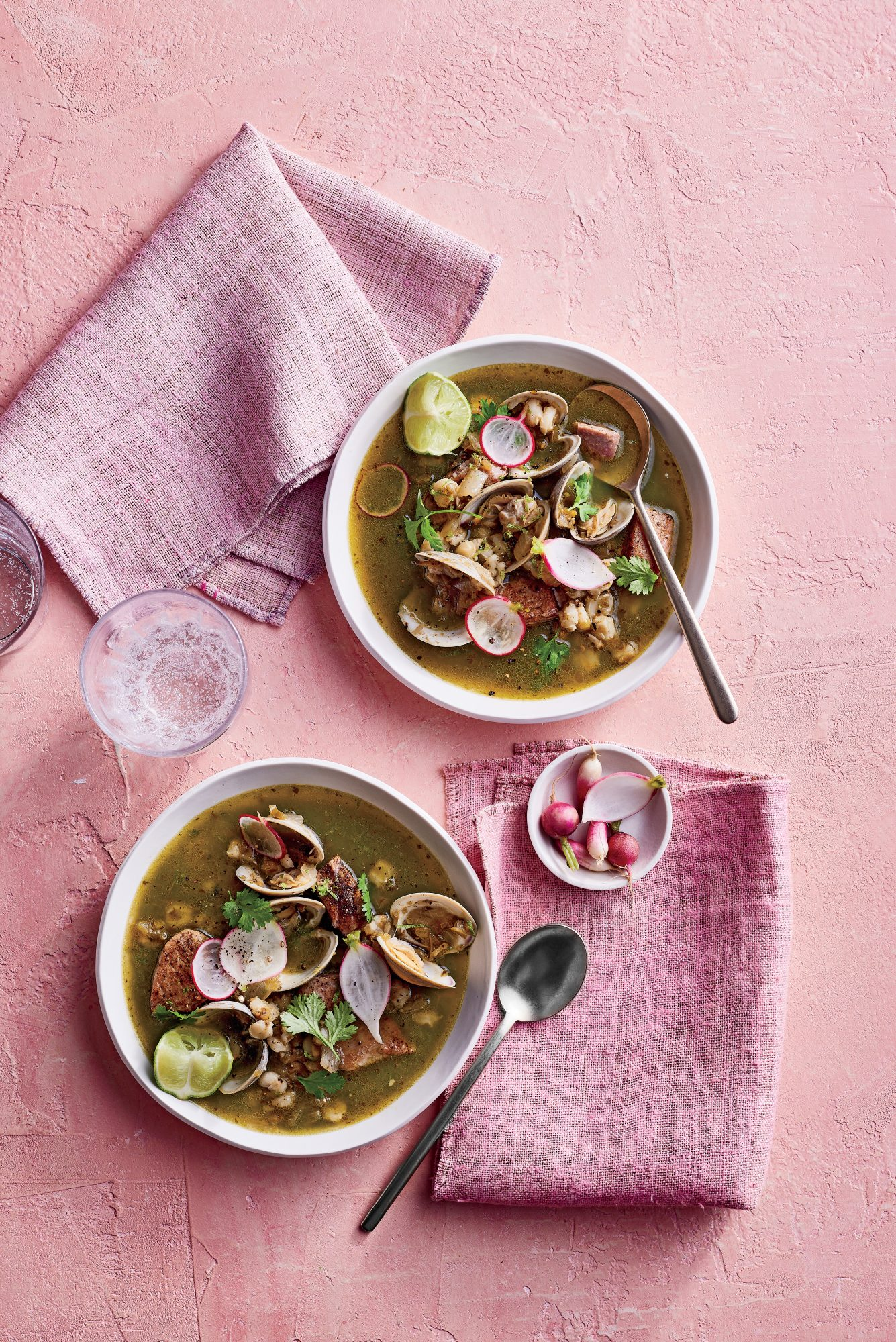 cl-Green Pozole with Tuna and Clams