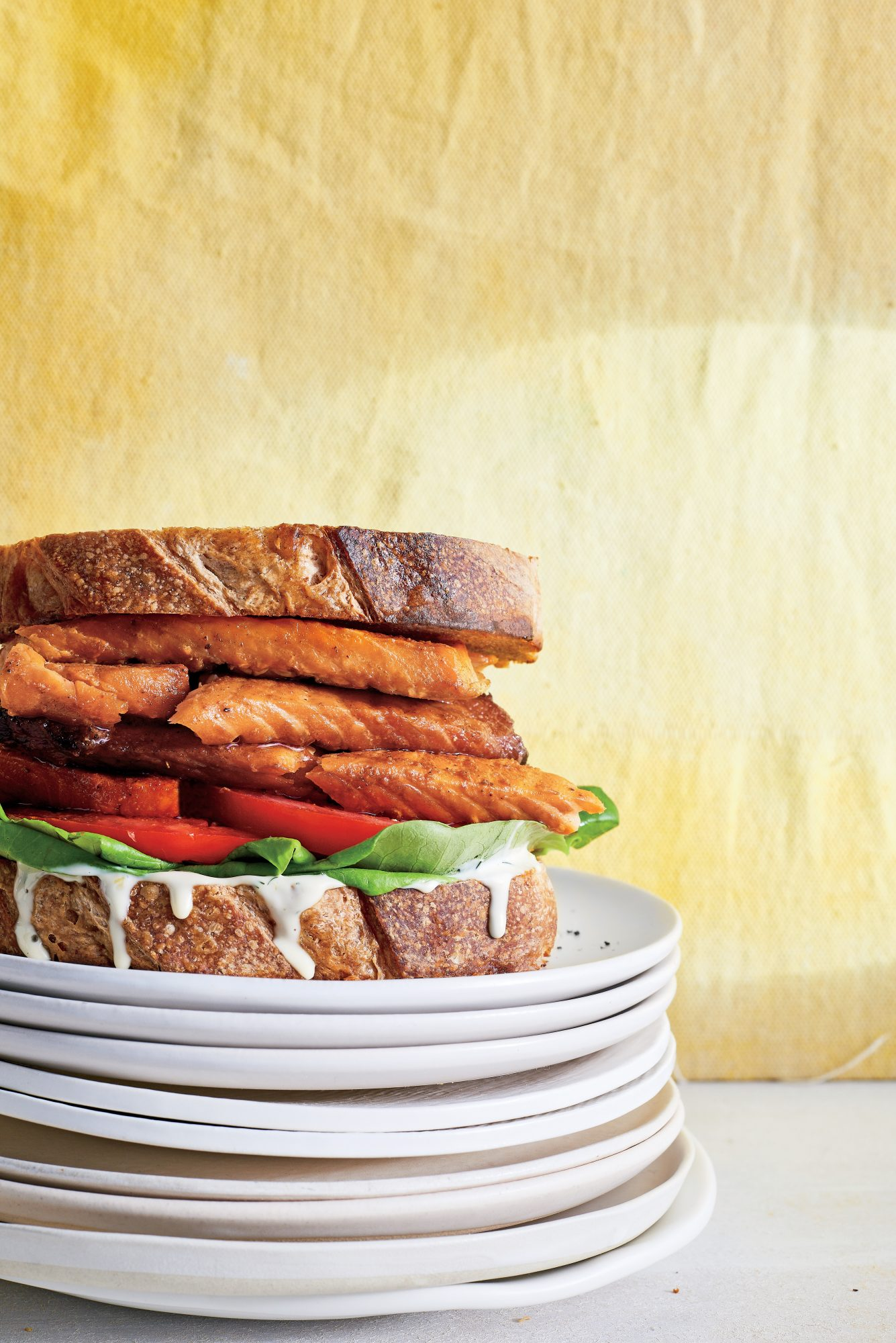 Salmon-Belly BLT with Lemon-Black Pepper Mayo