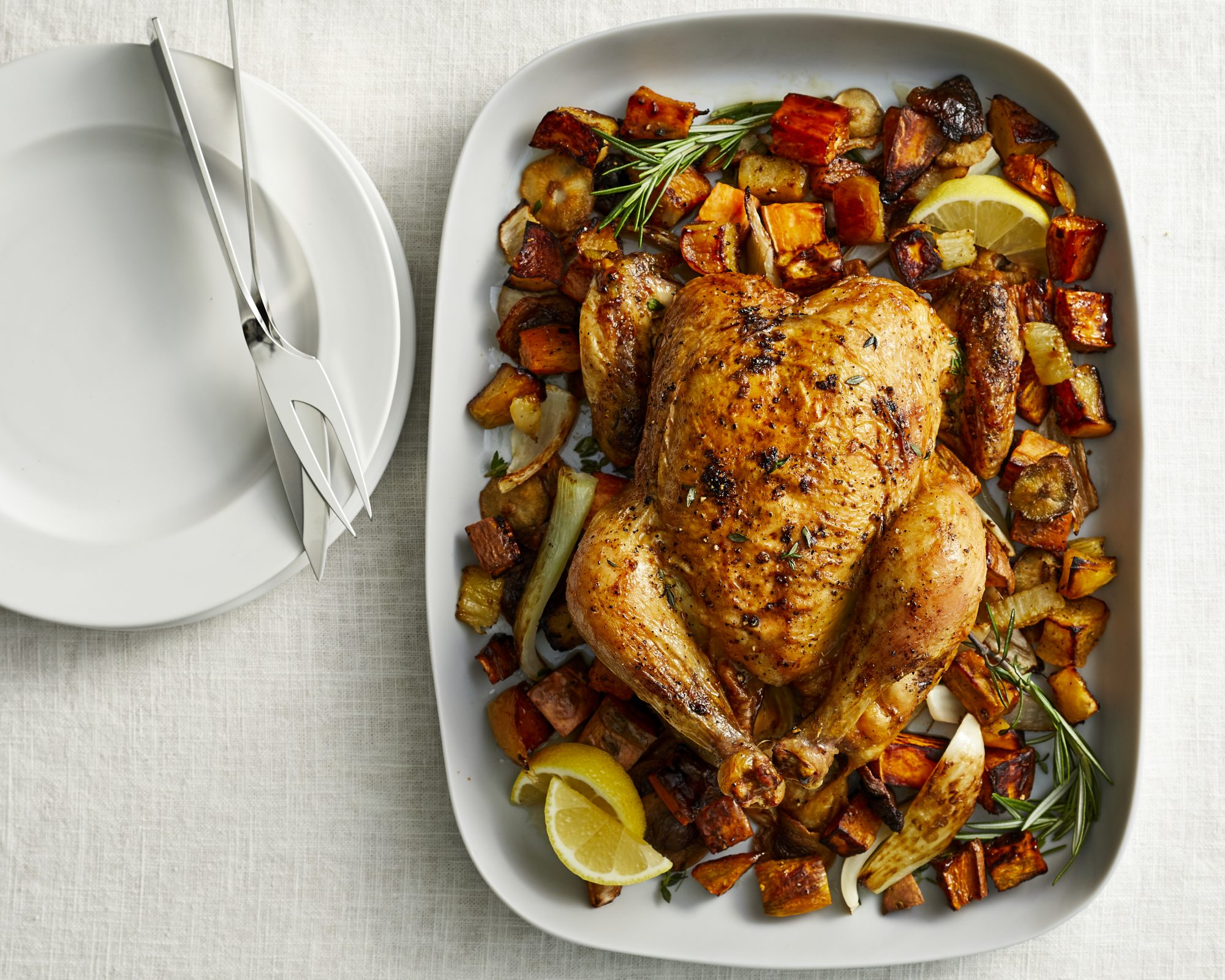 Whole Roasted Chicken with Sweet Potatoes, Fennel, and Apple