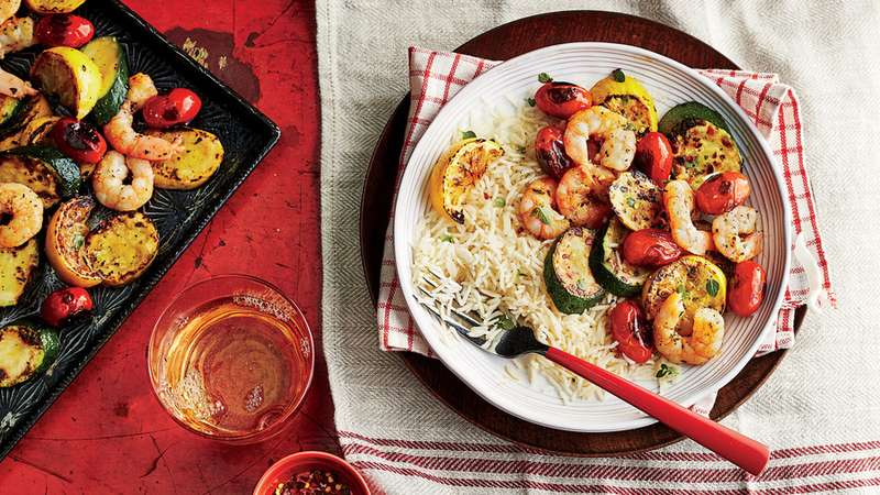 Sheet Pan Shrimp and Vegetables with Rice