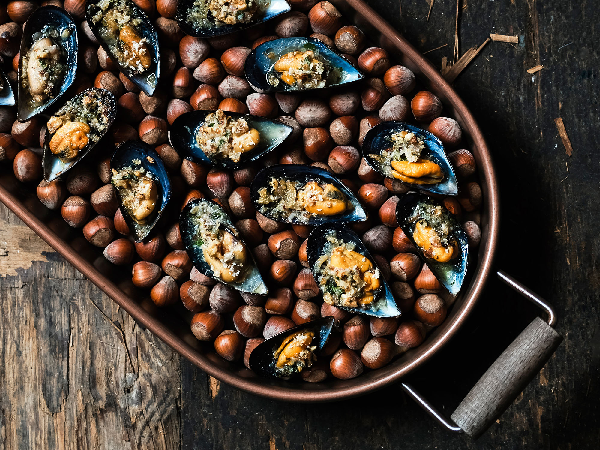 Mussels Baked with Hazelnut Herb Butter
