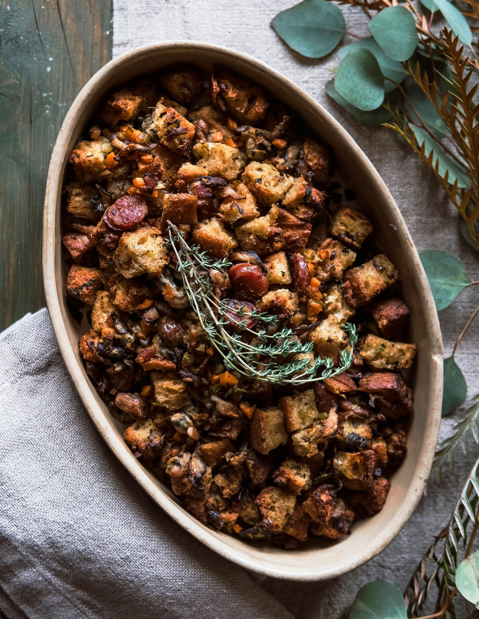 Oyster Stuffing with Chestnuts and Chinese Sausage