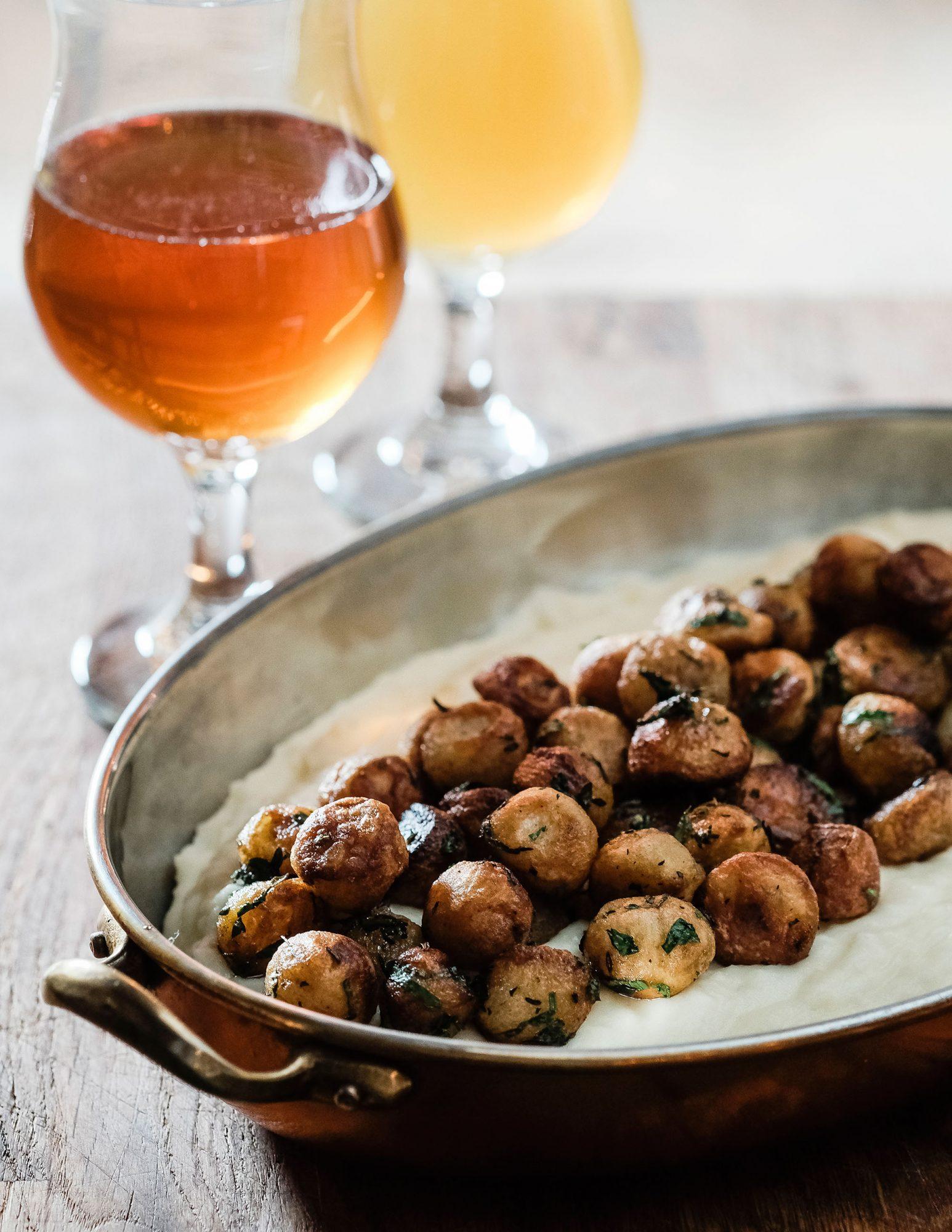 Potatoes Noisette on Potato Purée