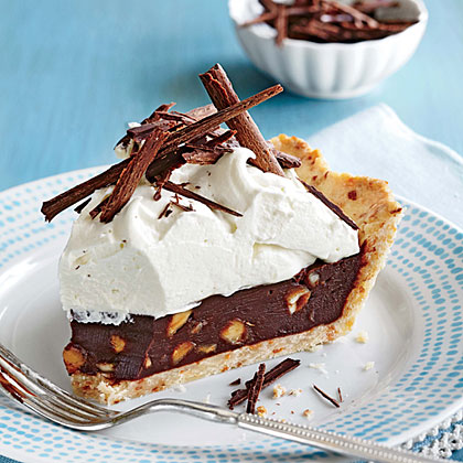 <p>Chocolate-Coconut-Macadamia Pie</p>