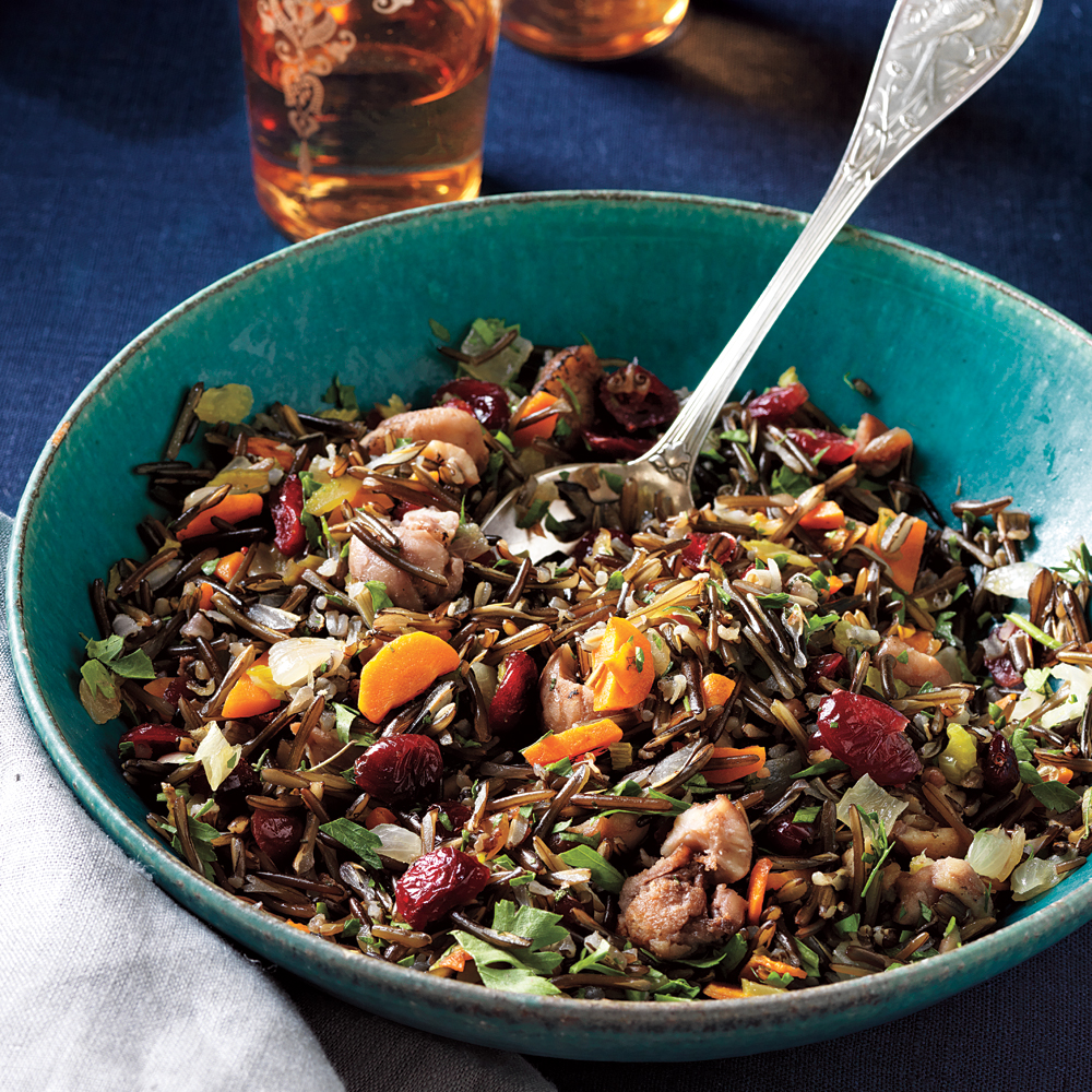 Wild Rice Dressing with Roasted Chestnuts and Cranberries RecipeThe nutty, almost smoky flavor of wild rice pairs beautifully with game birds and other poultry and has only 2.4 grams of fat per serving.