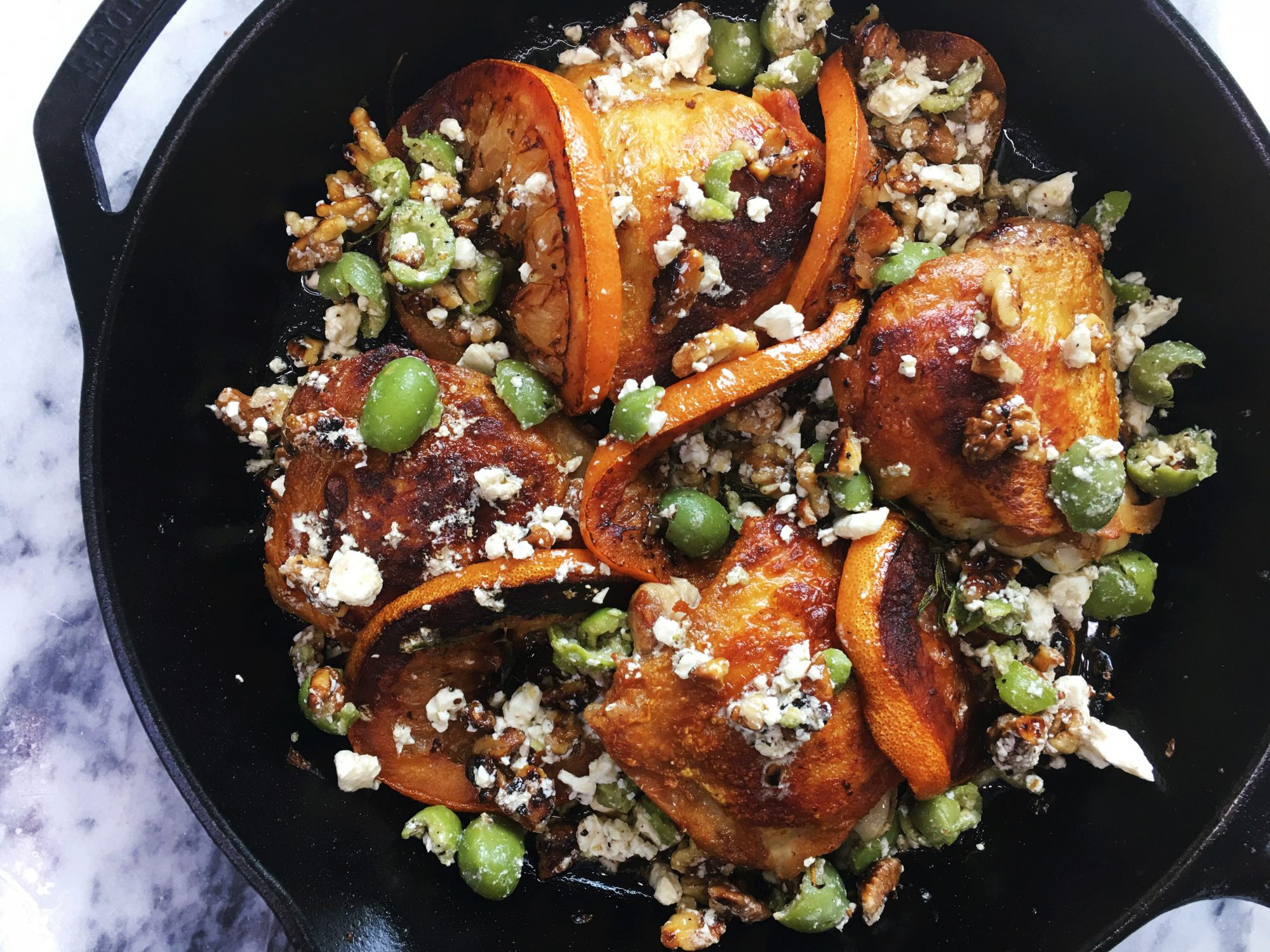 Crispy Chicken Thighs with Grapefruit, Olives, and Feta