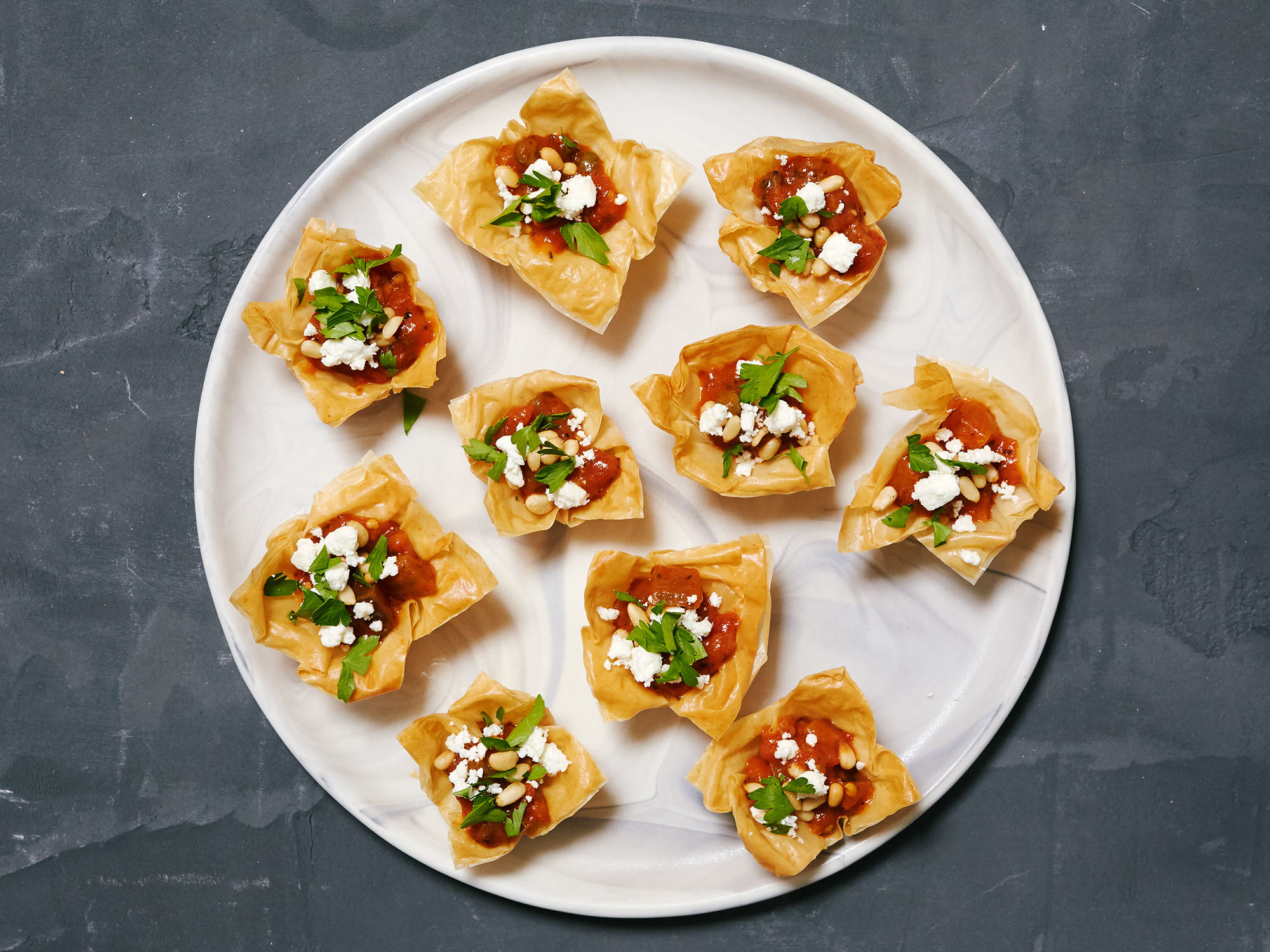 Mini Filo Cups with Caponata and Feta