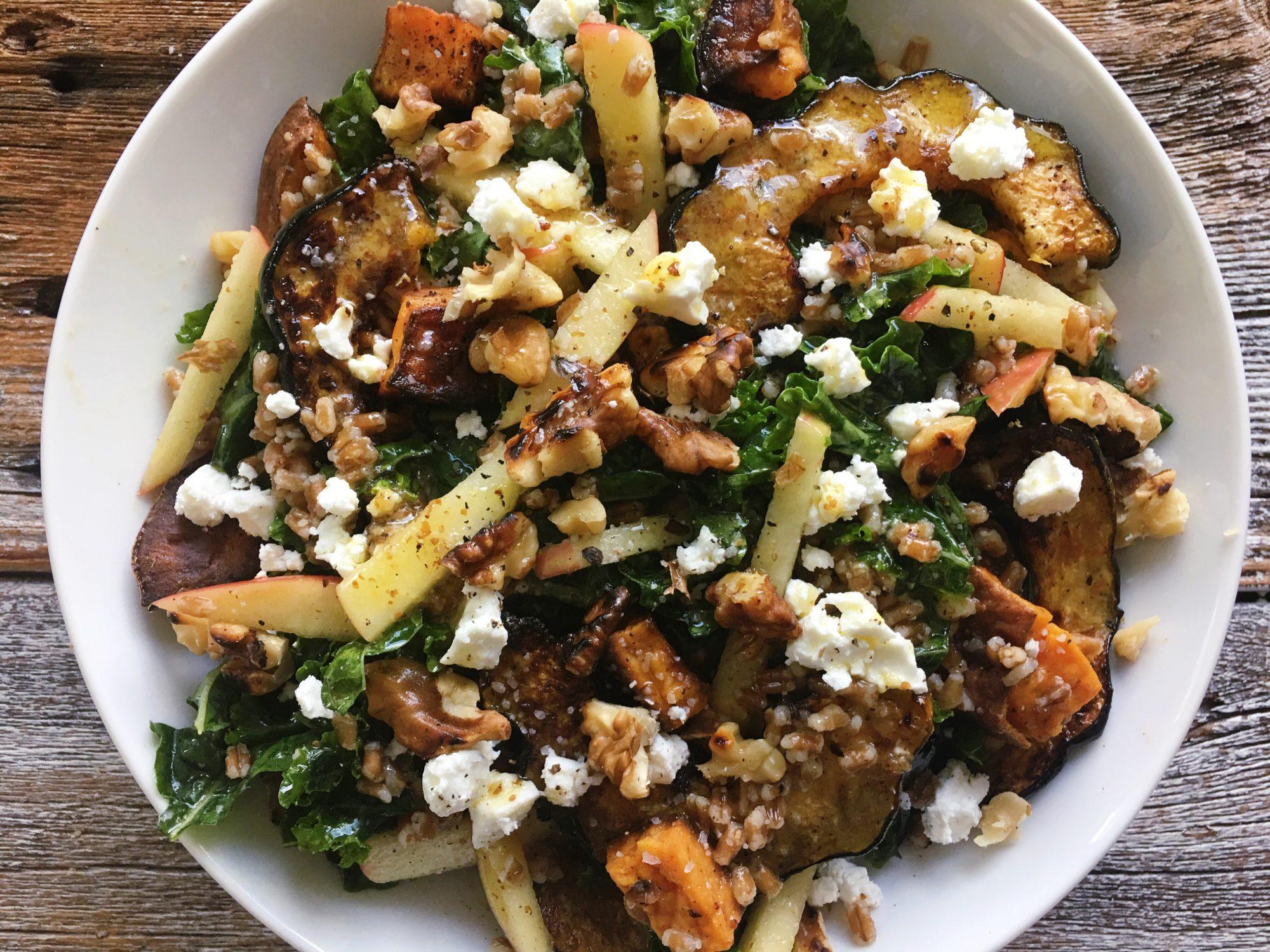 Kale Salad with Acorn Squash, Wheatberries, Apples, and Maple-Dijon Vinaigrette
