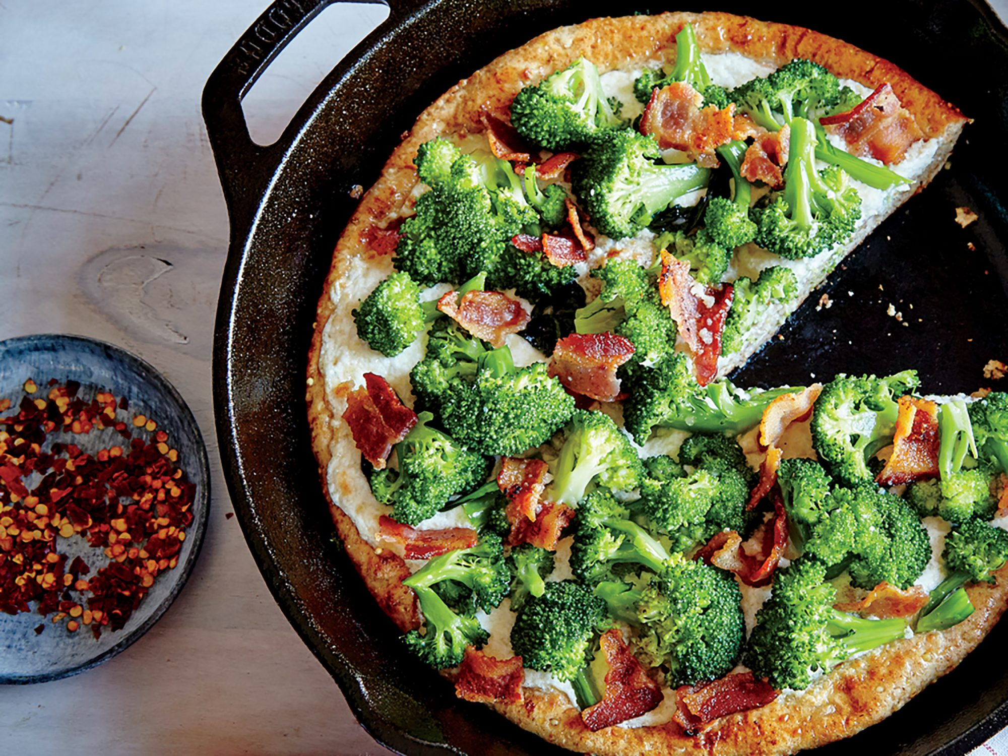 Broccoli and Bacon Skillet Pizza