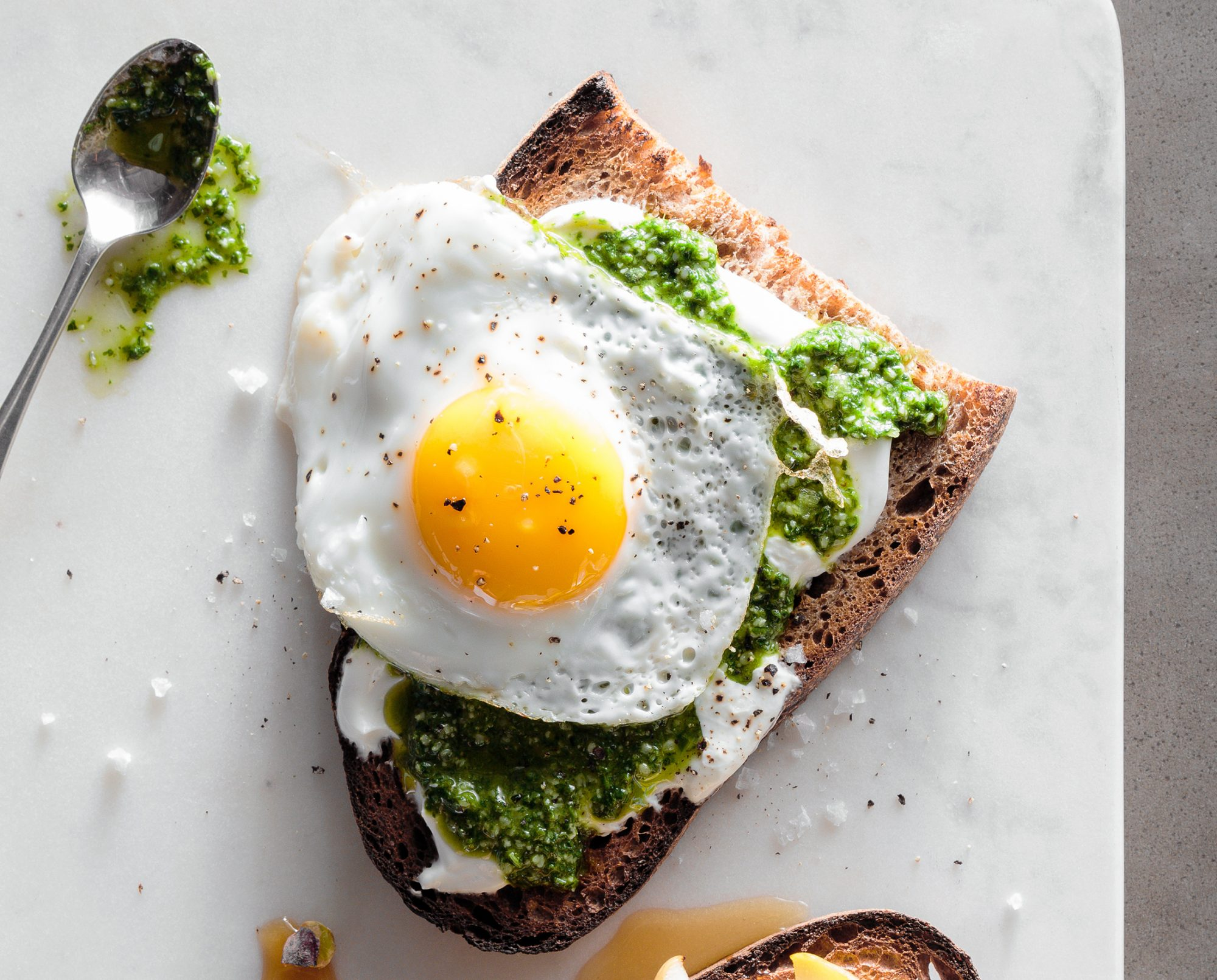 Cilantro and Kale Pesto Toast with a Fried Egg