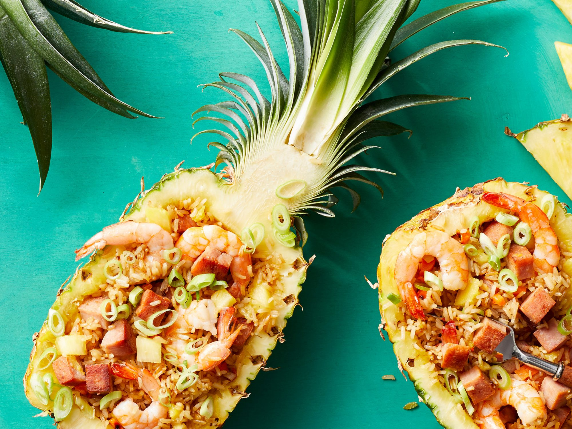 Pineapple Fried Rice with Spam, Shrimp, and Cashews