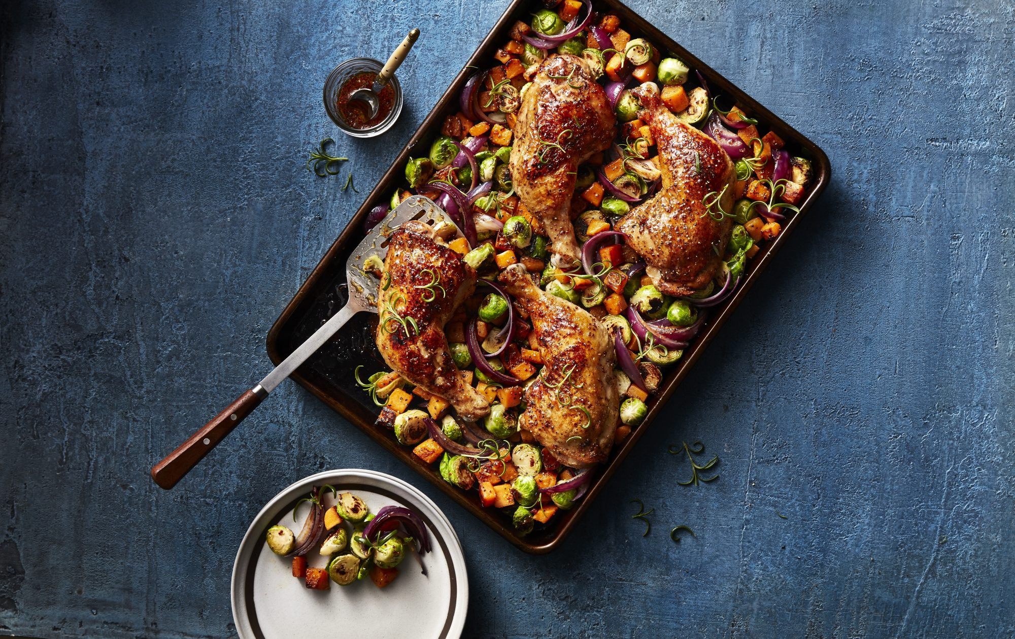 Roasted Rosemary Chicken Quarters with Butternut Squash and Brussels Sprouts image