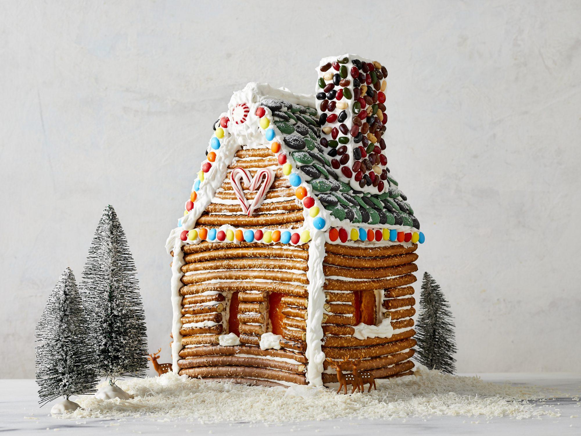 Skip the Gingebread House Kit, Make a Pretzel Rod Log Cabin Instead