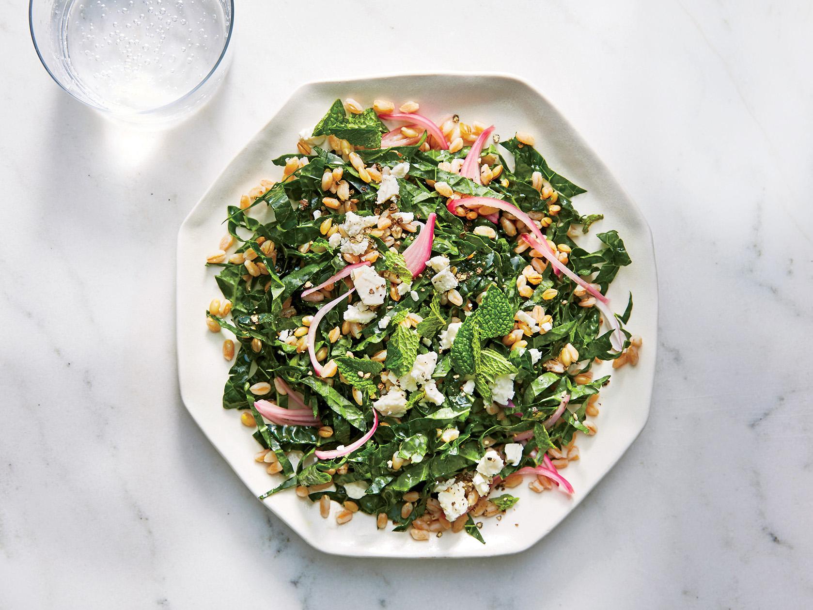 Kale, Farro, and Feta Salad